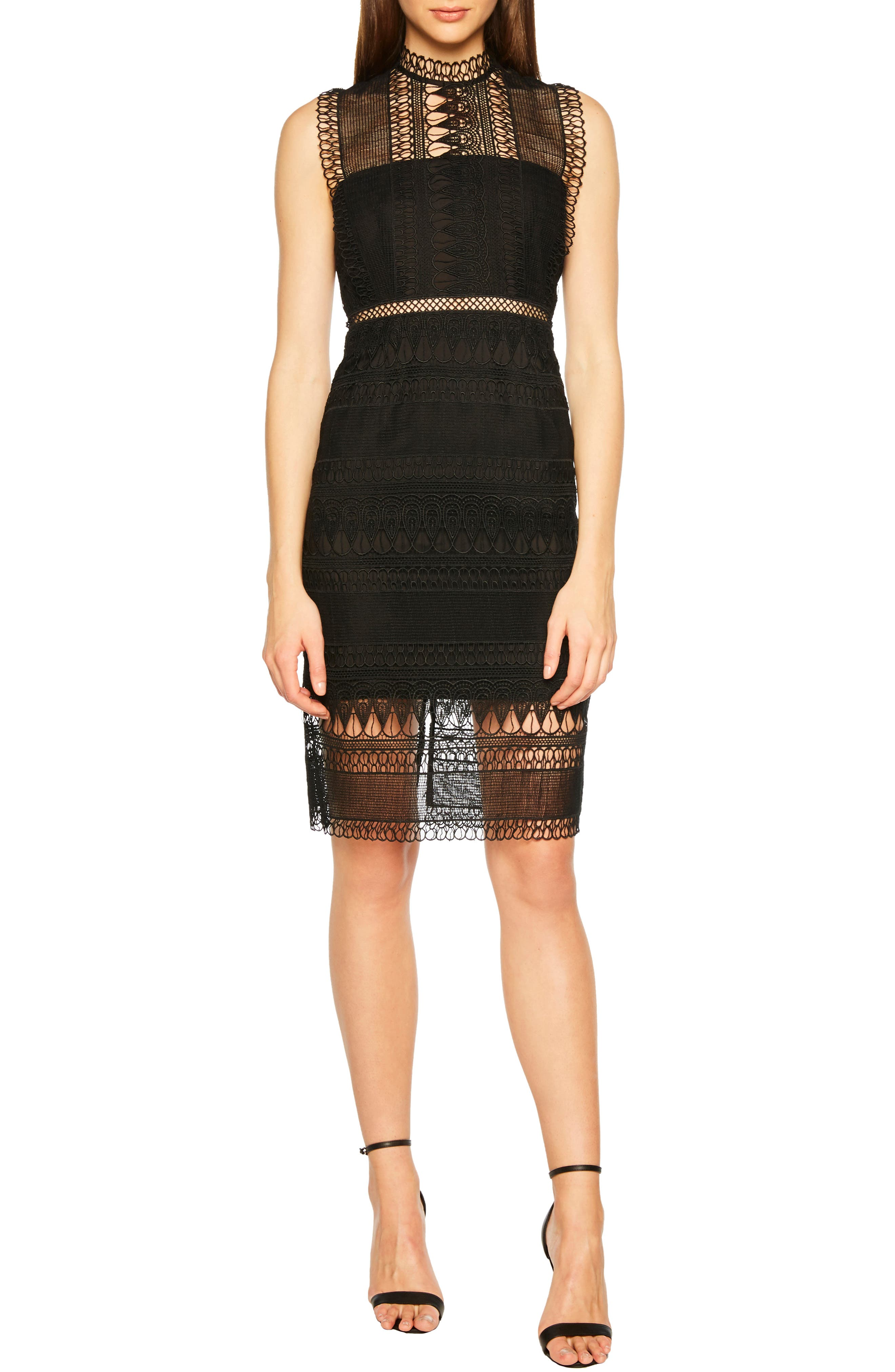 Bardot Mariana Lace Body-Con Dress, Black