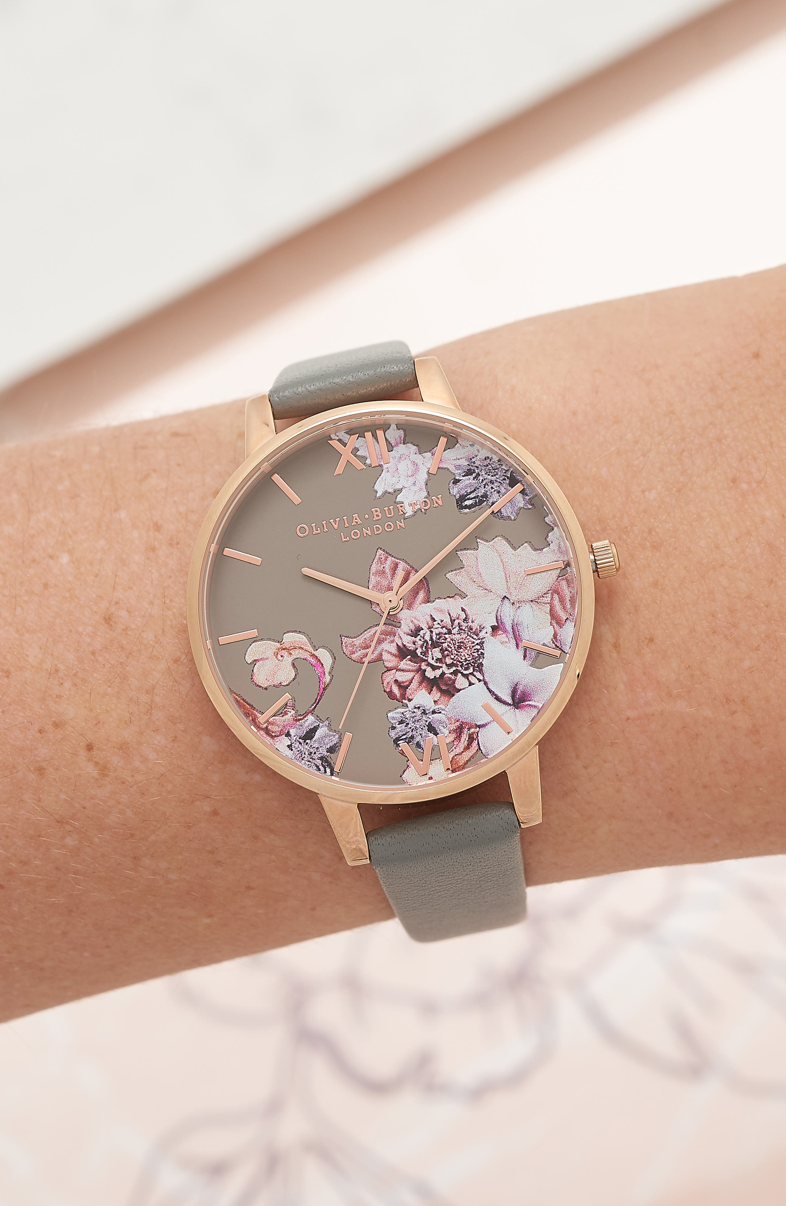 Marble Floral Leather Strap Watch, 38mm,                             Alternate thumbnail 5, color,