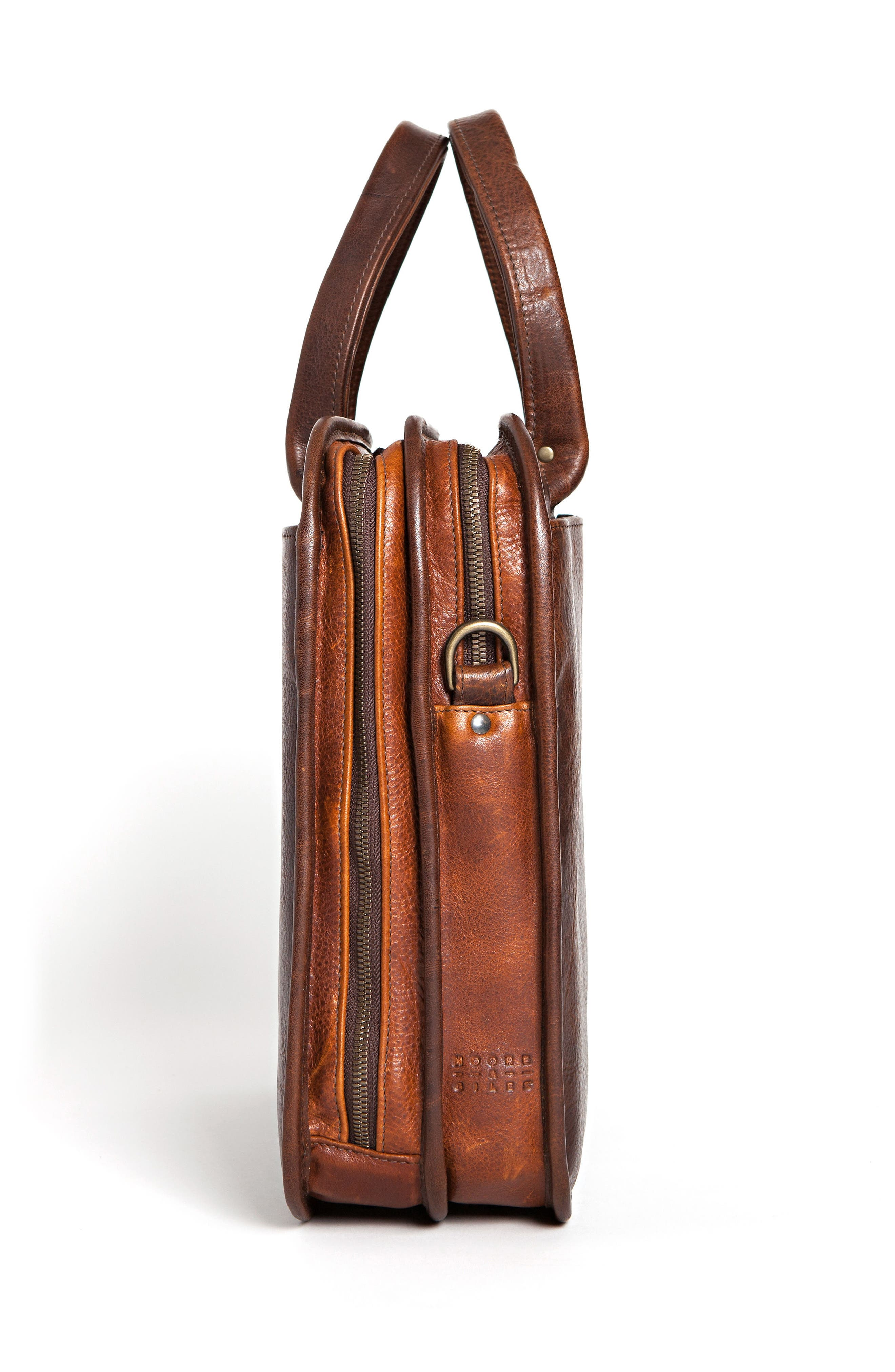 Miller Leather Briefcase,                             Alternate thumbnail 4, color,                             TITAN MILLED BROWN