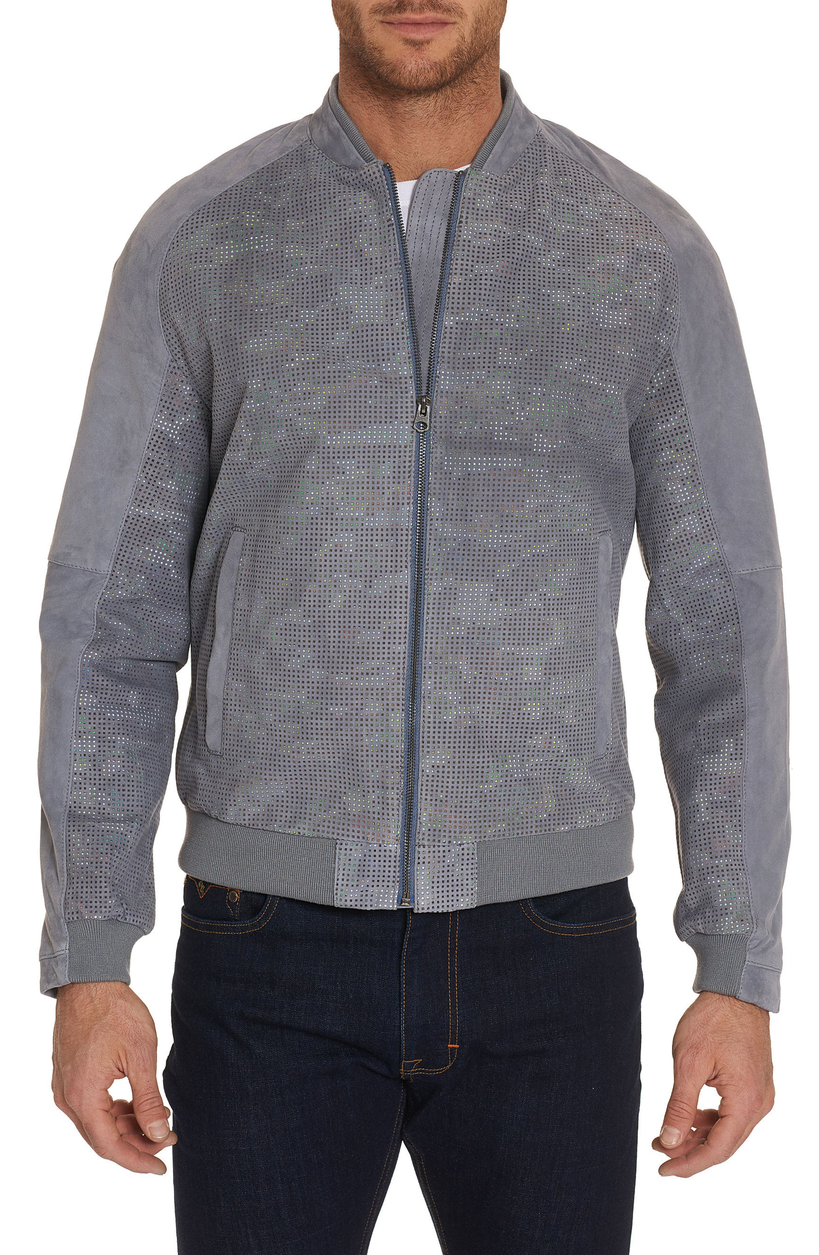 Ricardo Tailored Fit Suede Bomber Jacket,                         Main,                         color, GREY