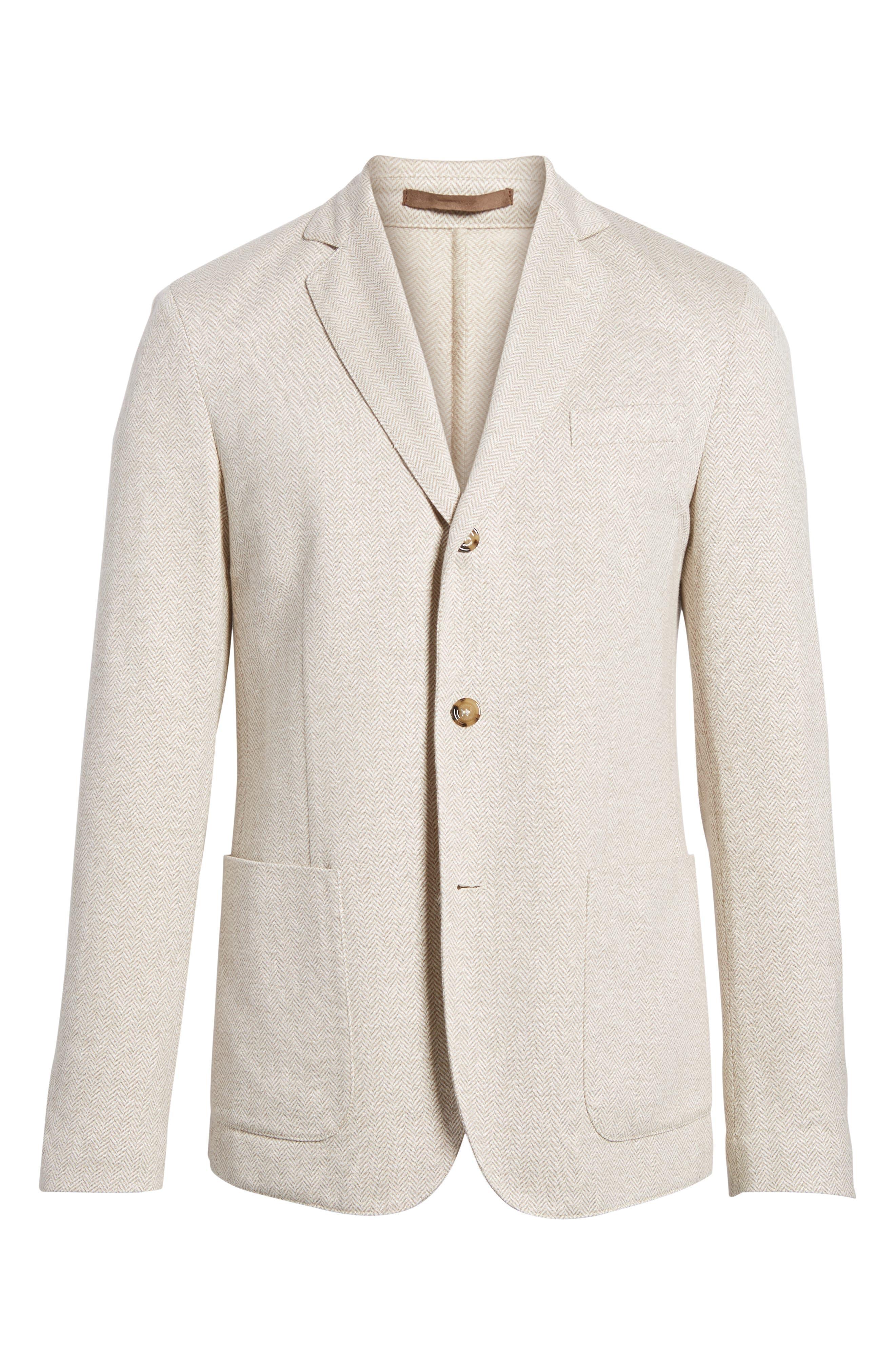 Trim Fit Herringbone Linen & Cotton Jacket,                             Alternate thumbnail 5, color,                             231