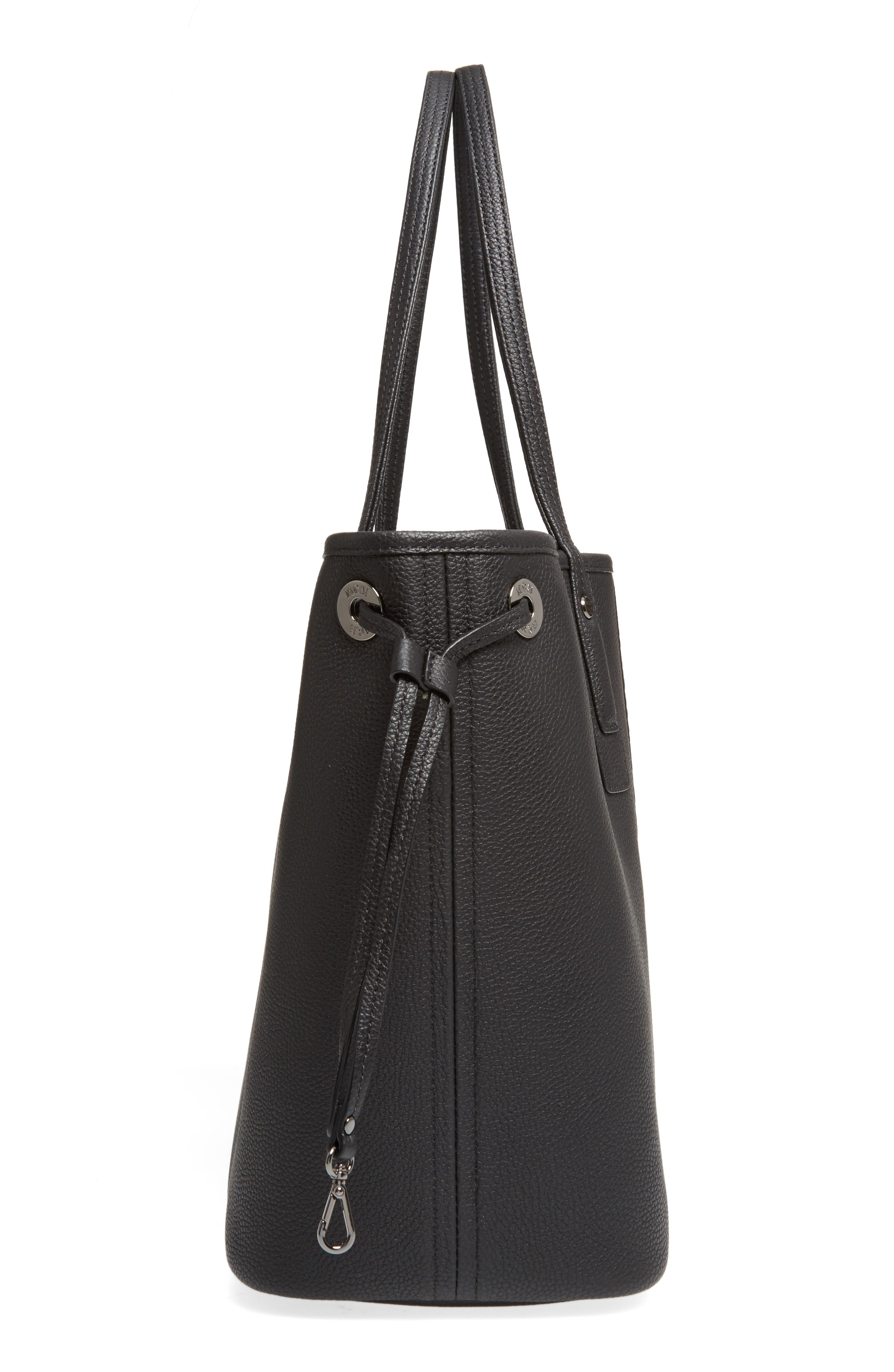 Medium Liz Reversible Visetos Leather Shopper,                             Alternate thumbnail 6, color,                             BLACK