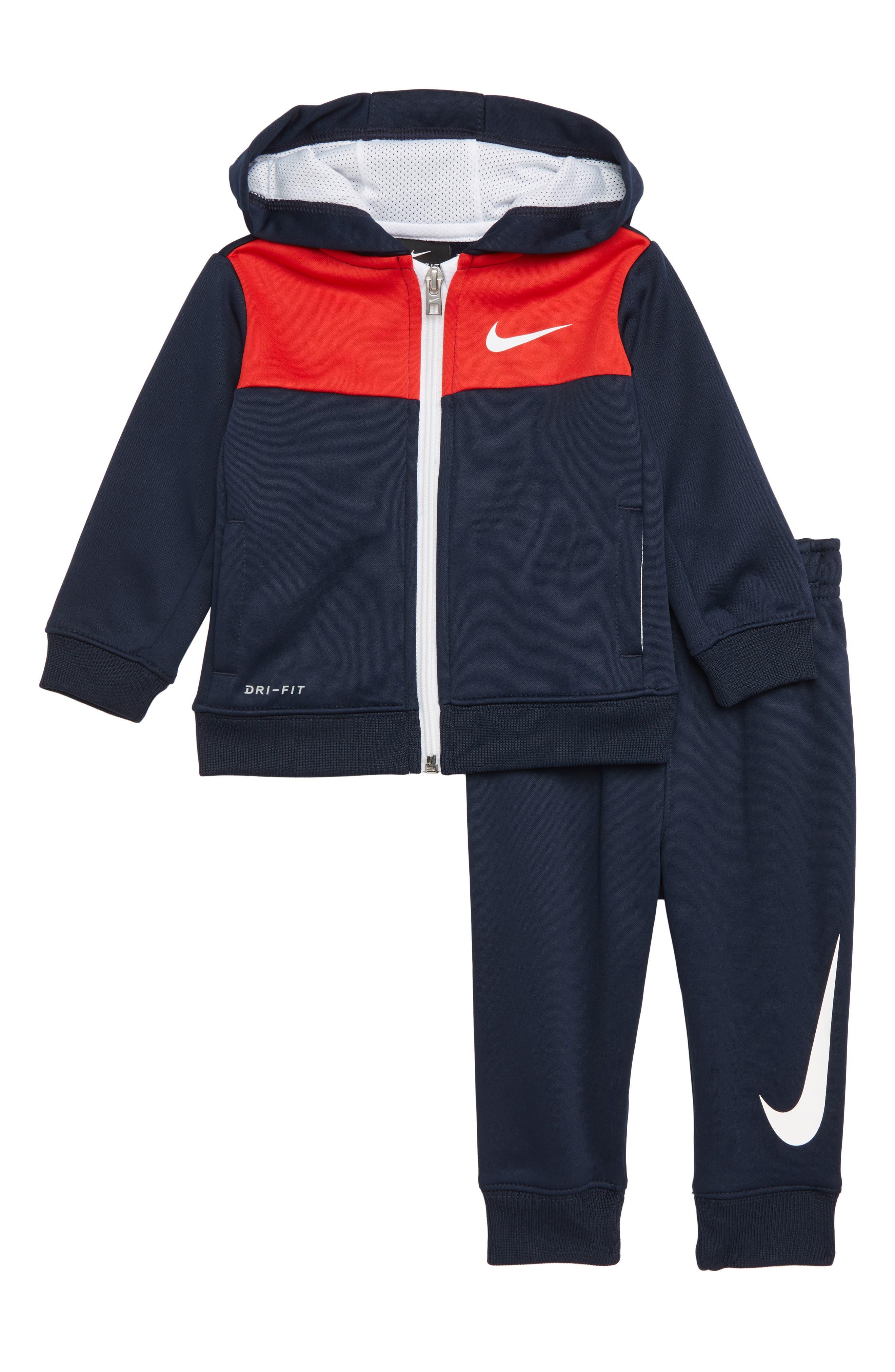Therma Full Zip Hoodie & Sweatpants Set,                         Main,                         color, OBSIDIAN