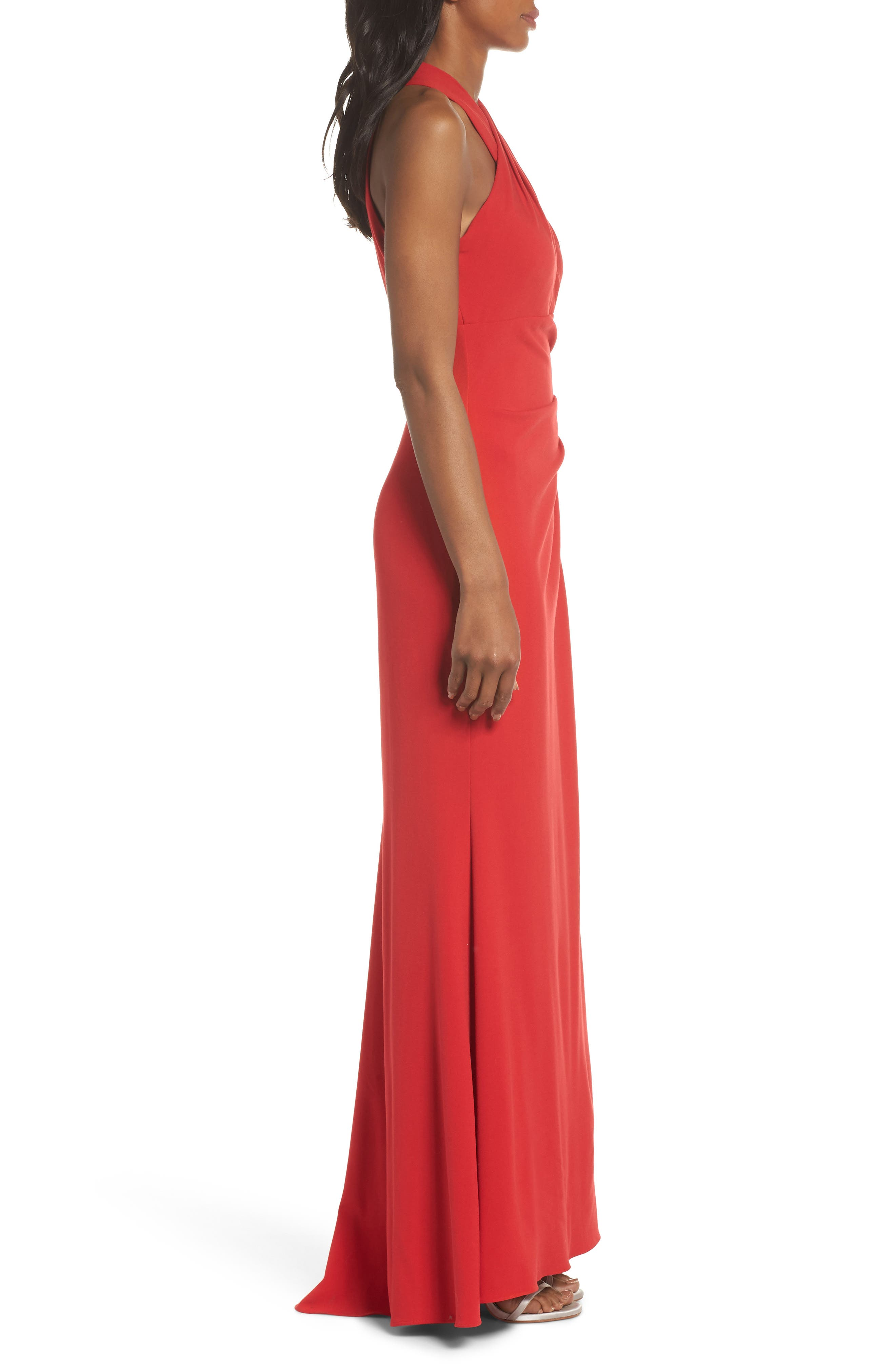 Side Pleat Crossneck Gown,                             Alternate thumbnail 3, color,                             RED
