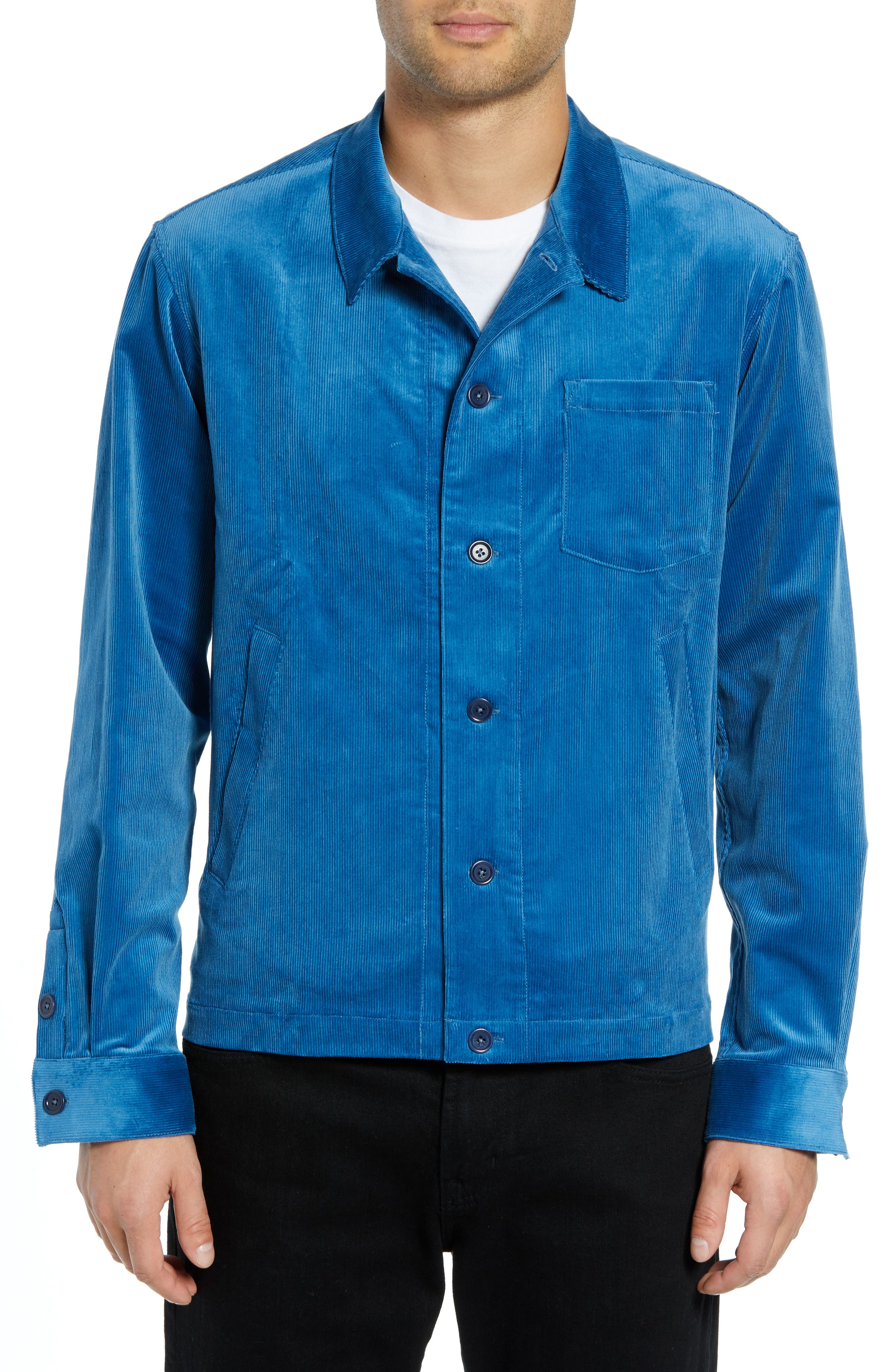 Corduroy Stretch Shirt Jacket,                             Alternate thumbnail 2, color,                             BLUE
