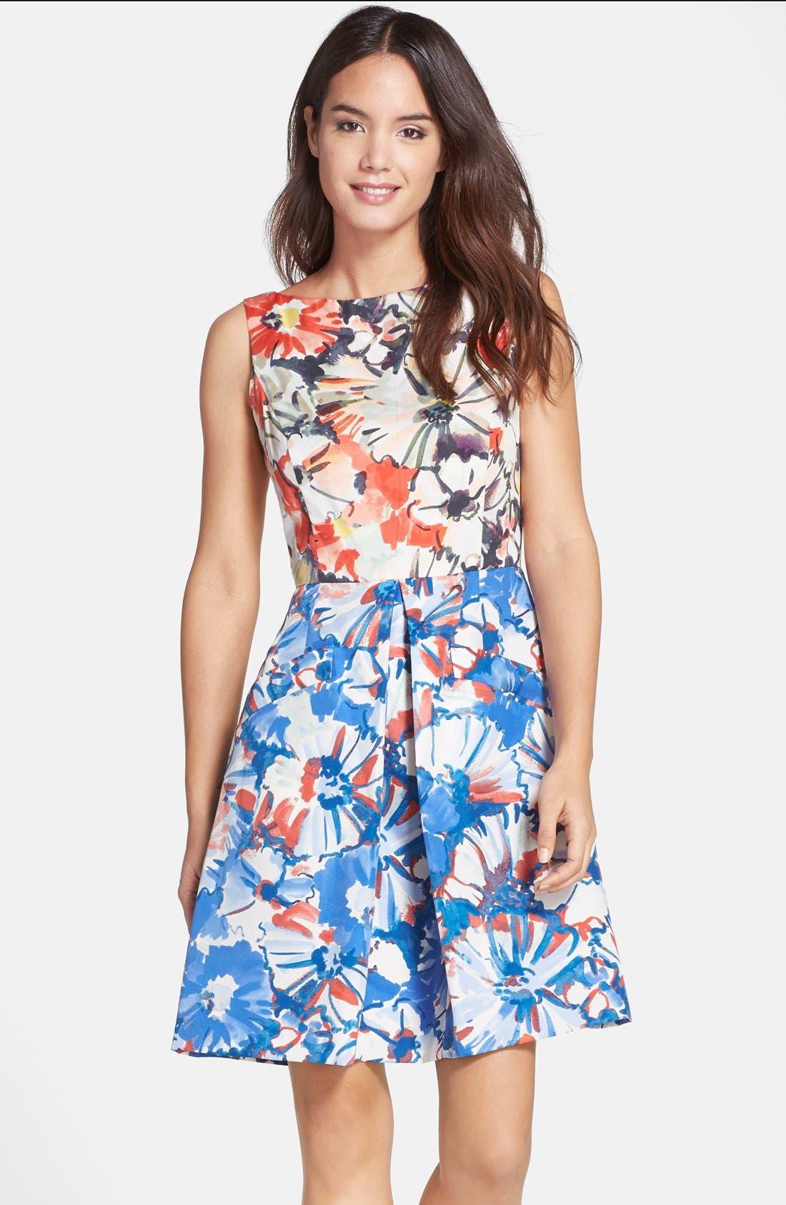 Floral Print Fit & Flare Dress,                             Main thumbnail 1, color,                             405