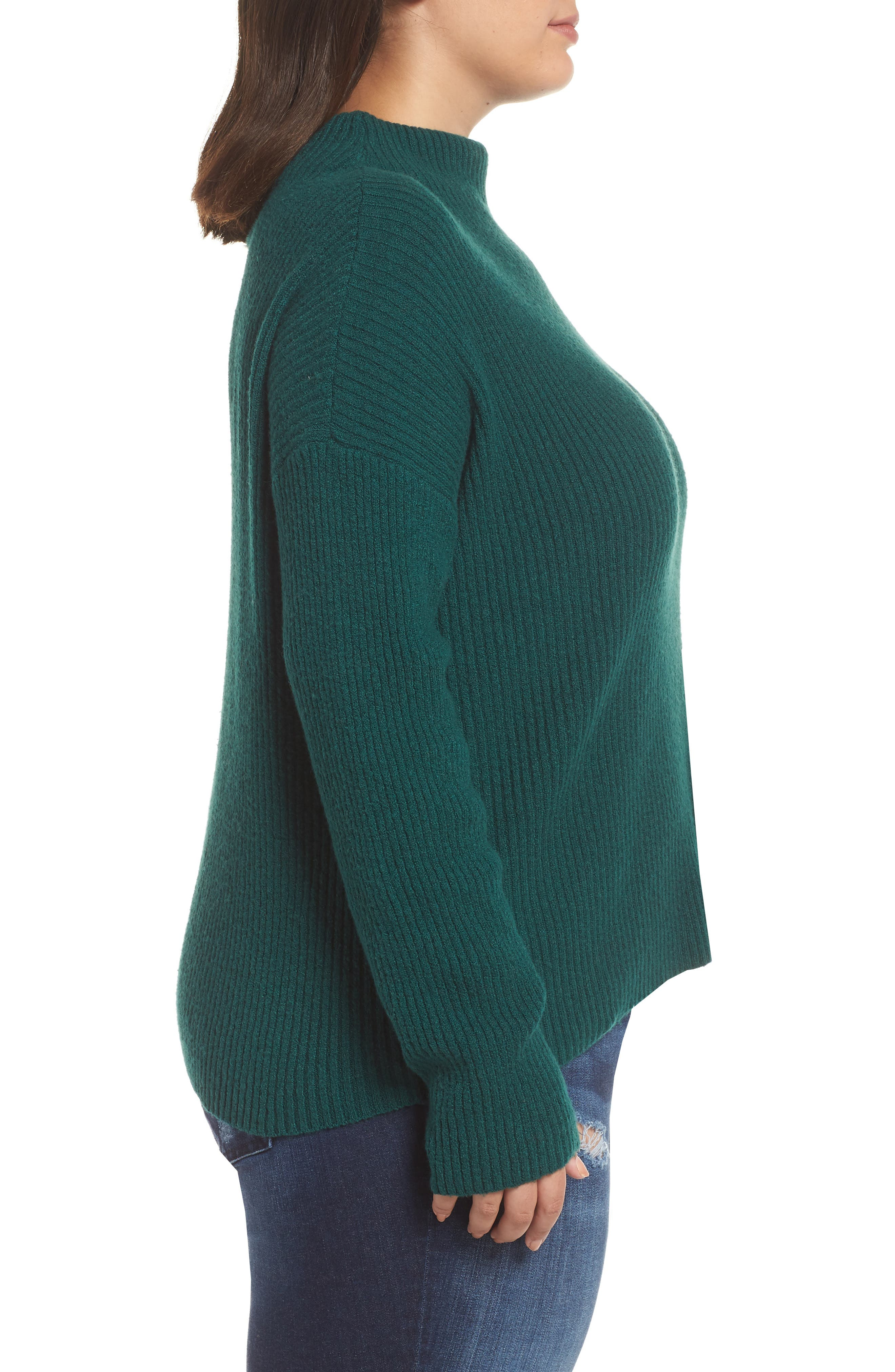 Ribbed Funnel Neck Sweater,                             Alternate thumbnail 3, color,                             GREEN BOTANICAL