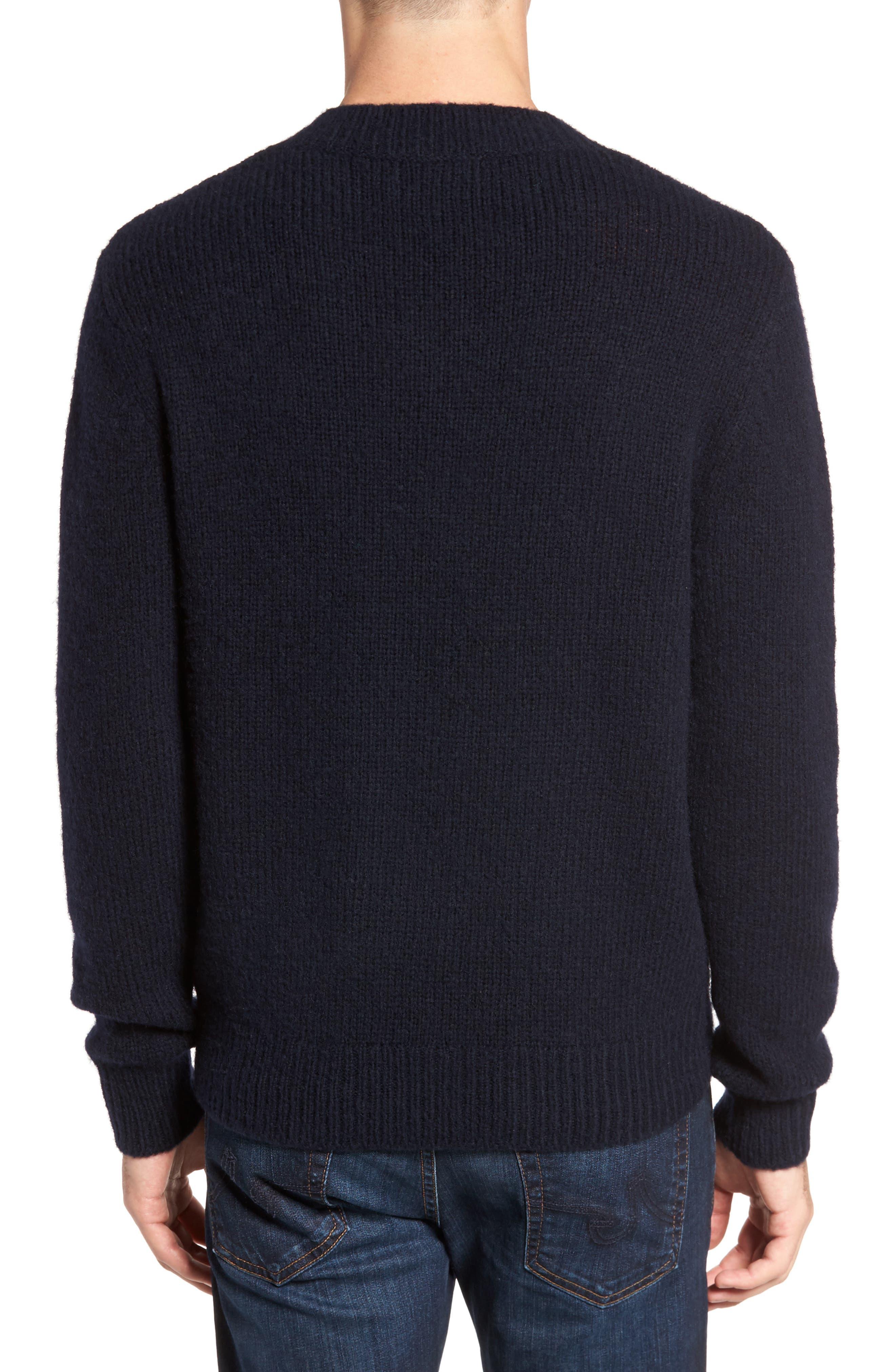 Fuzzy Deep V-Neck Wool Blend Sweater,                             Alternate thumbnail 4, color,