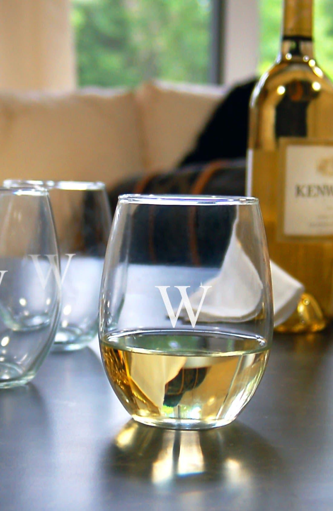 Monogram Set of 4 Stemless Wine Glasses,                             Alternate thumbnail 2, color,                             965