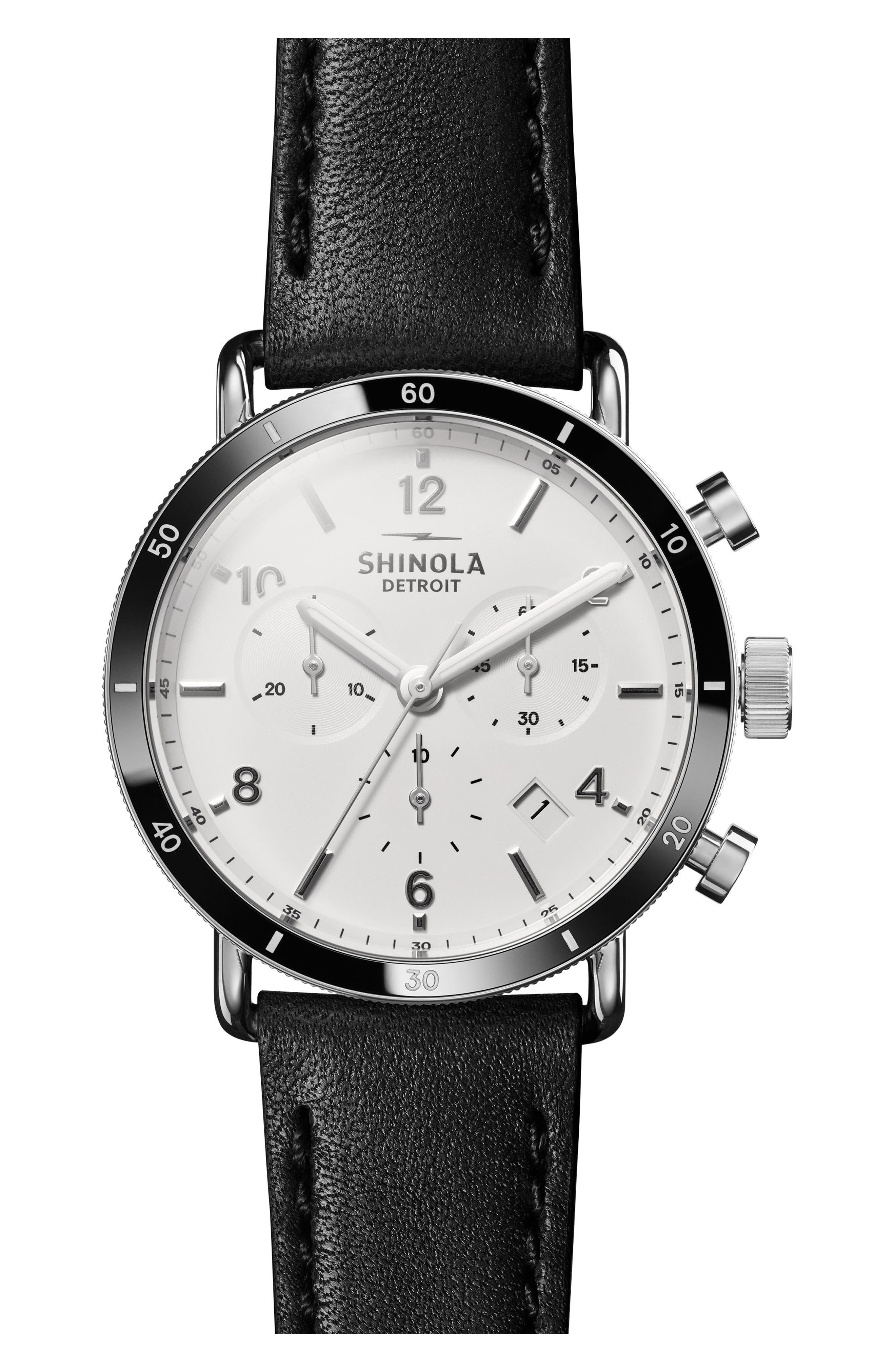 The Canfield Chrono Leather Strap Watch, 40mm,                             Main thumbnail 1, color,                             BLACK/ WHITE/ SILVER