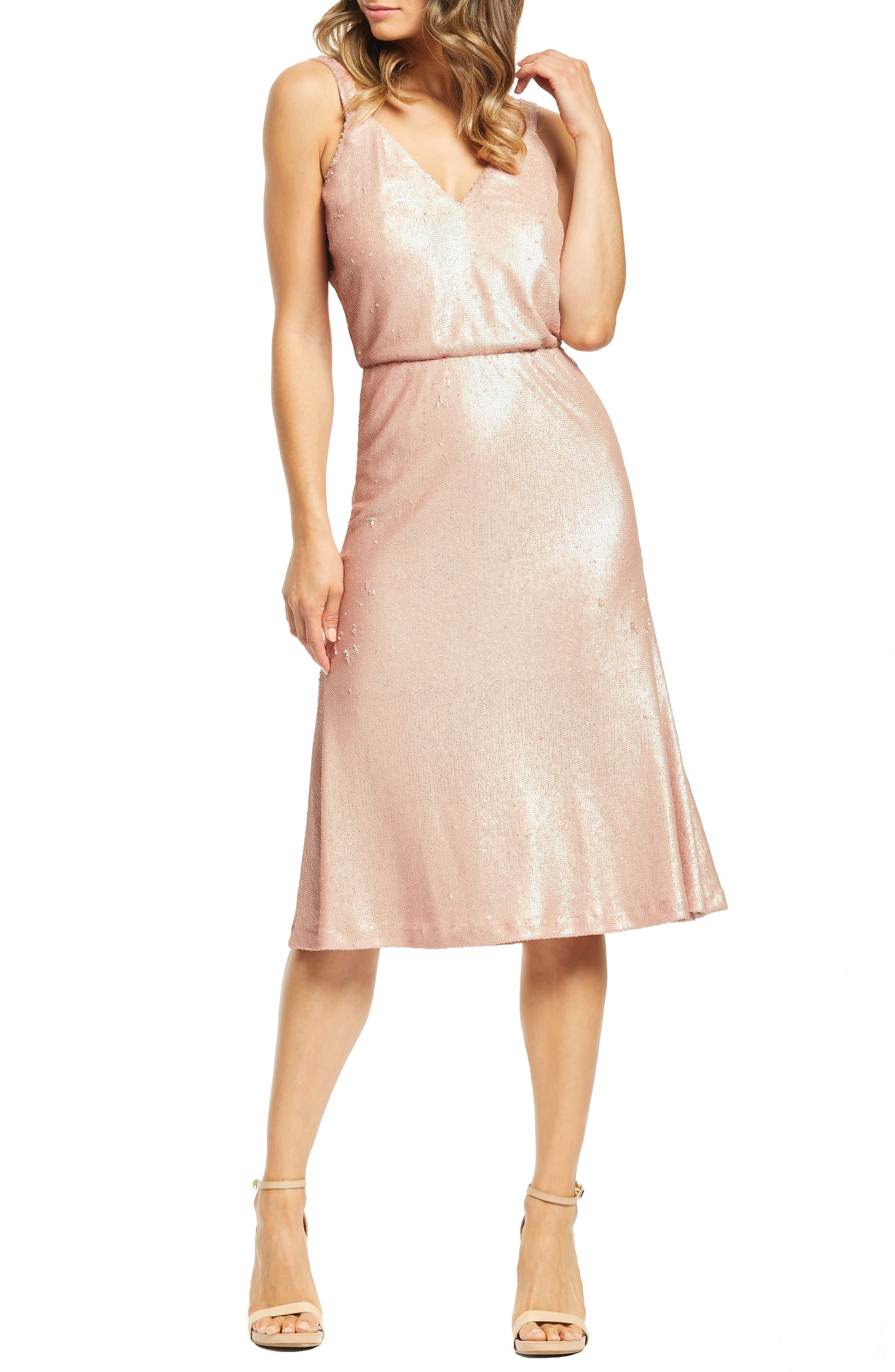 Dress The Population Cameron Sequin Blouson Dress, Pink