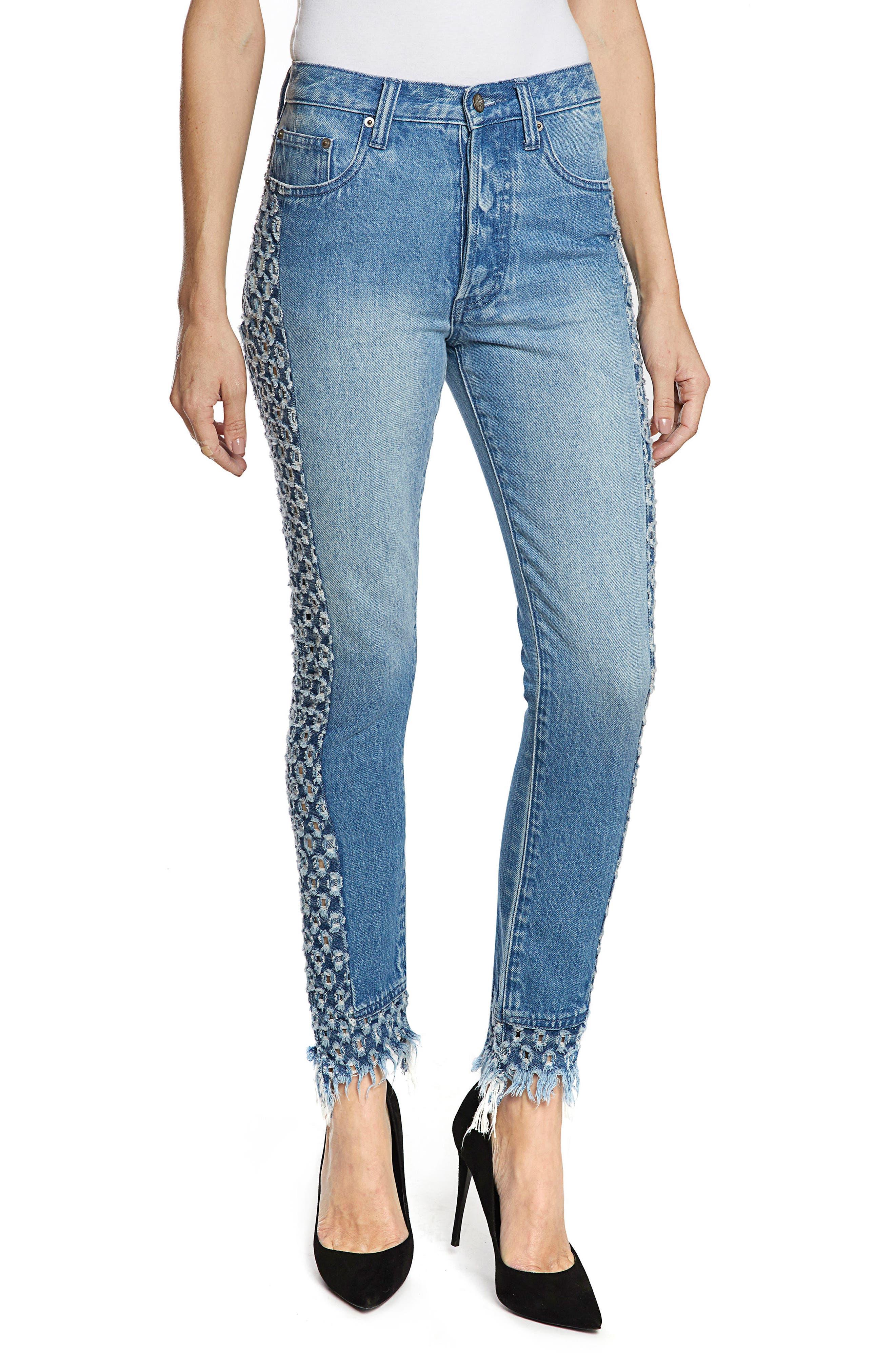AMX Cutout Side Fray Hem Ankle Jeans,                         Main,                         color, LIGHT STONE