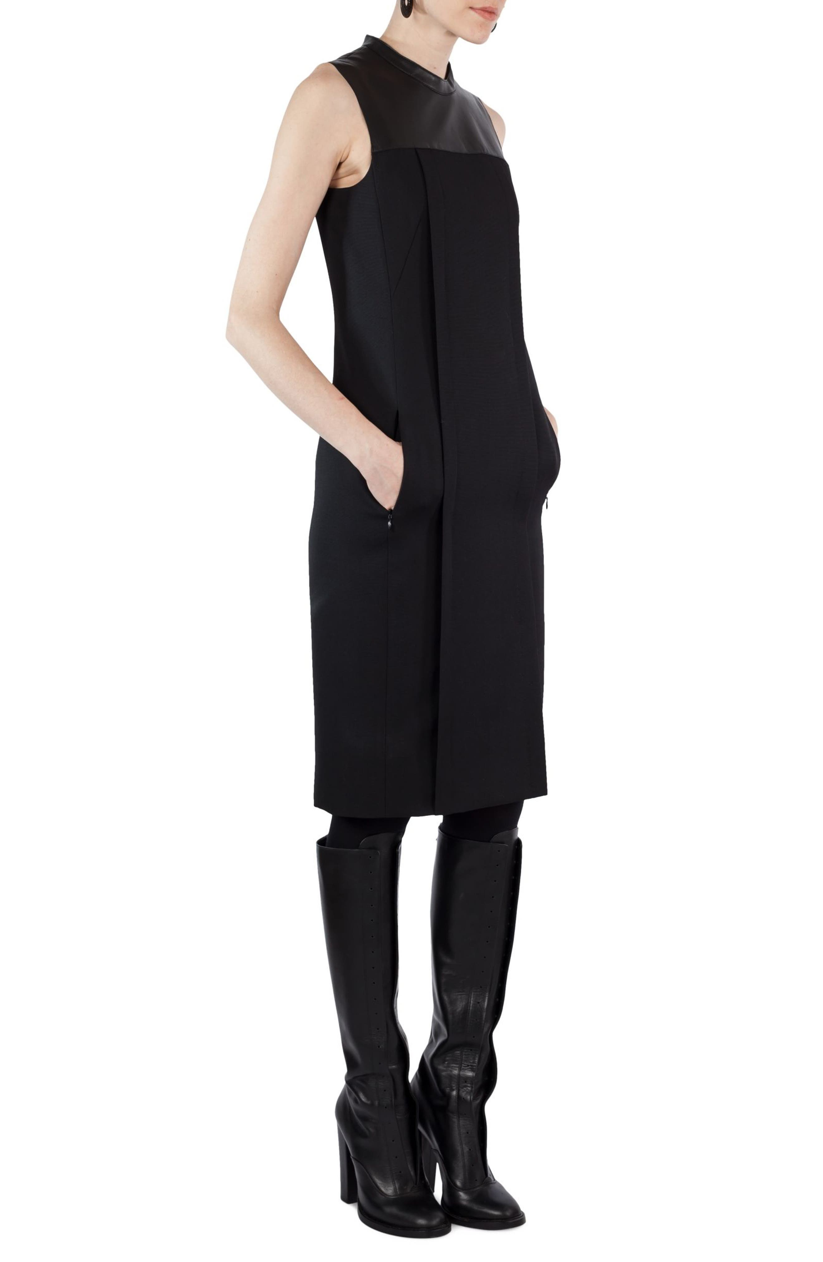 Wool & Leather Shift Dress,                             Alternate thumbnail 4, color,                             009