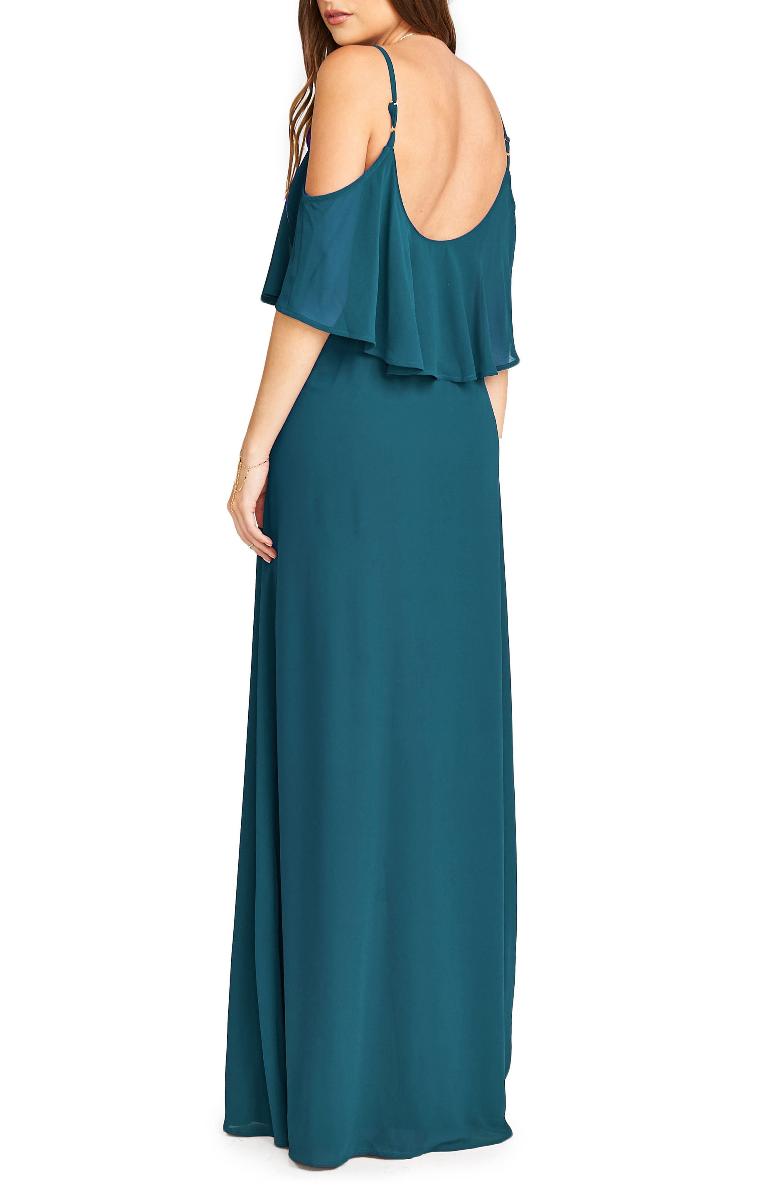 Caitlin Cold Shoulder Chiffon Gown,                             Alternate thumbnail 21, color,