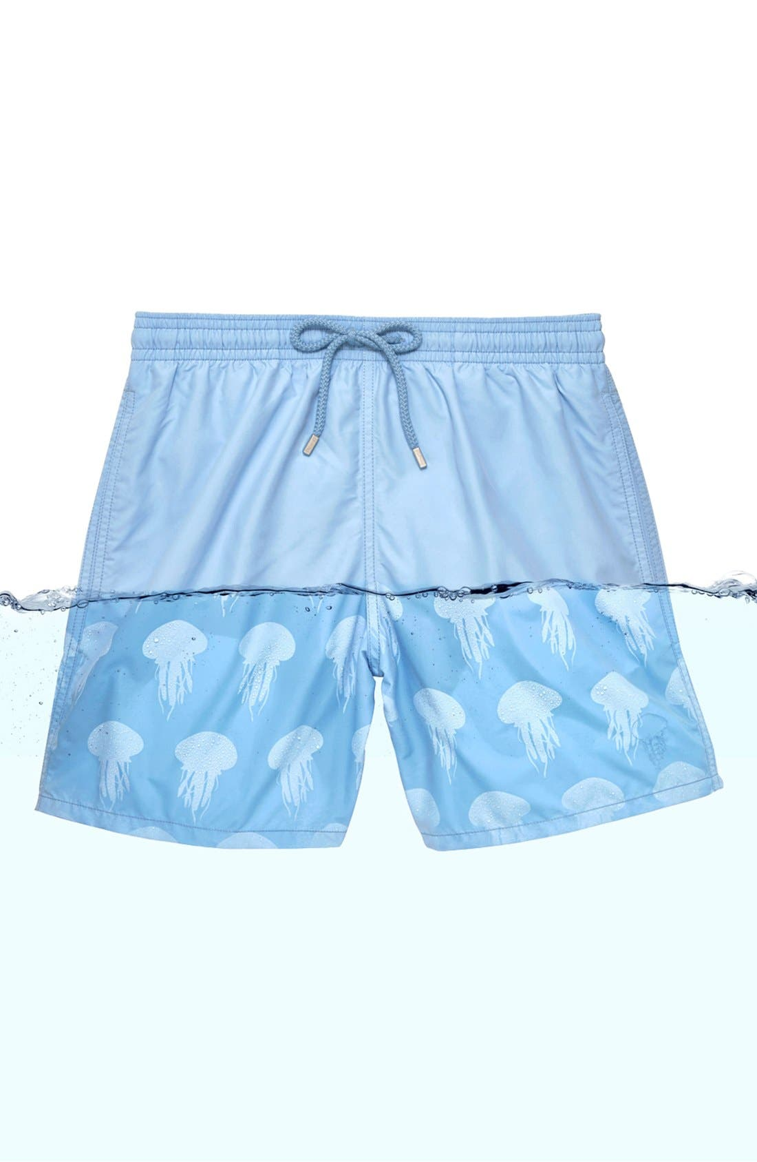 'Moorea' Water Reactive Jellyfish Print Swim Trunks,                             Alternate thumbnail 3, color,                             450