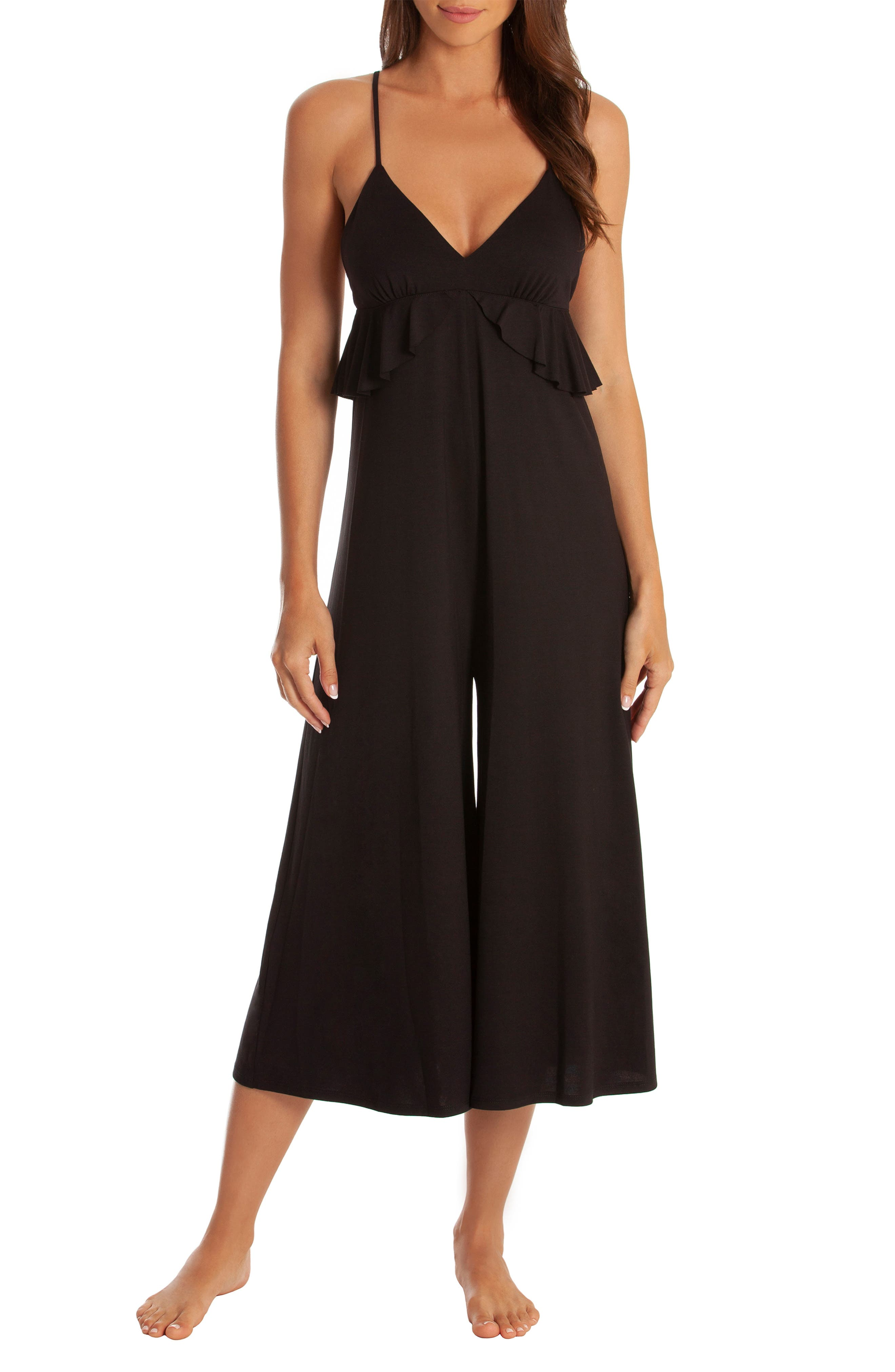 MIDNIGHT BAKERY Iggy Cropped Jumpsuit in Black