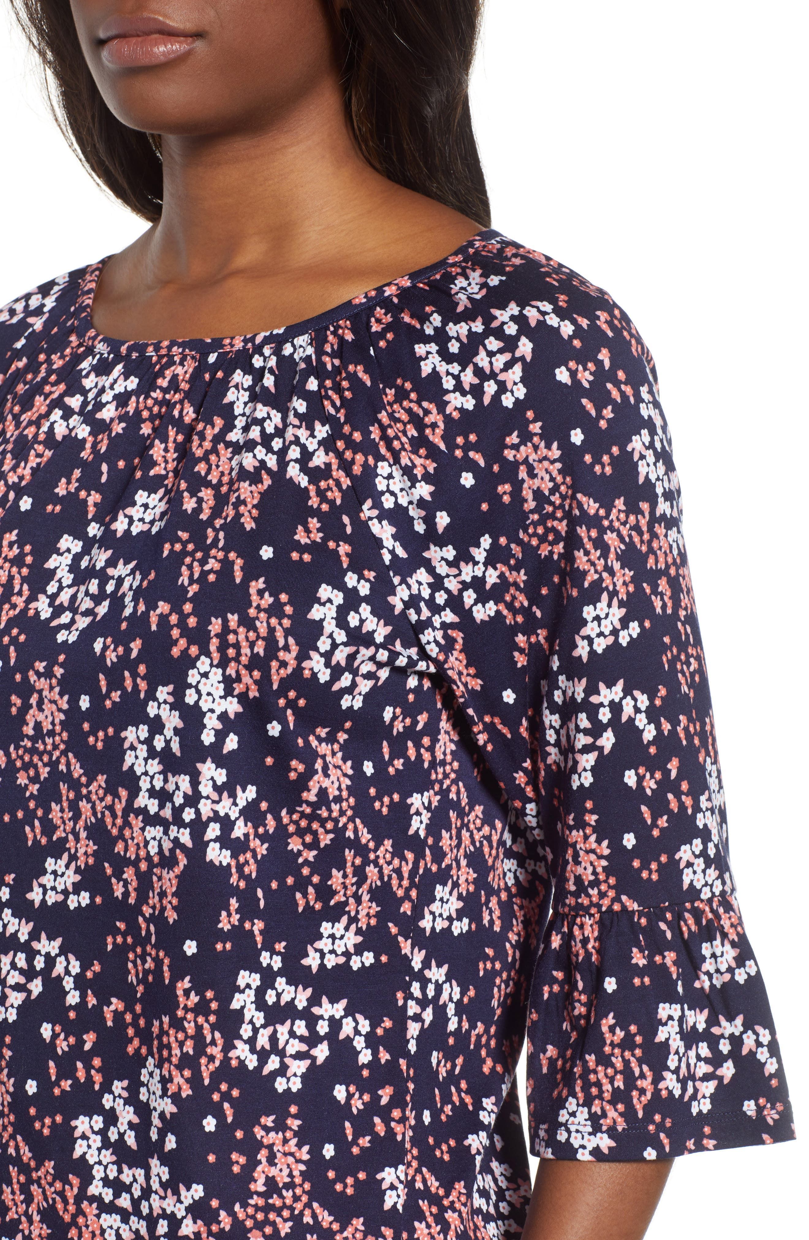 Scattered Blooms Print Peasant Top,                             Alternate thumbnail 4, color,