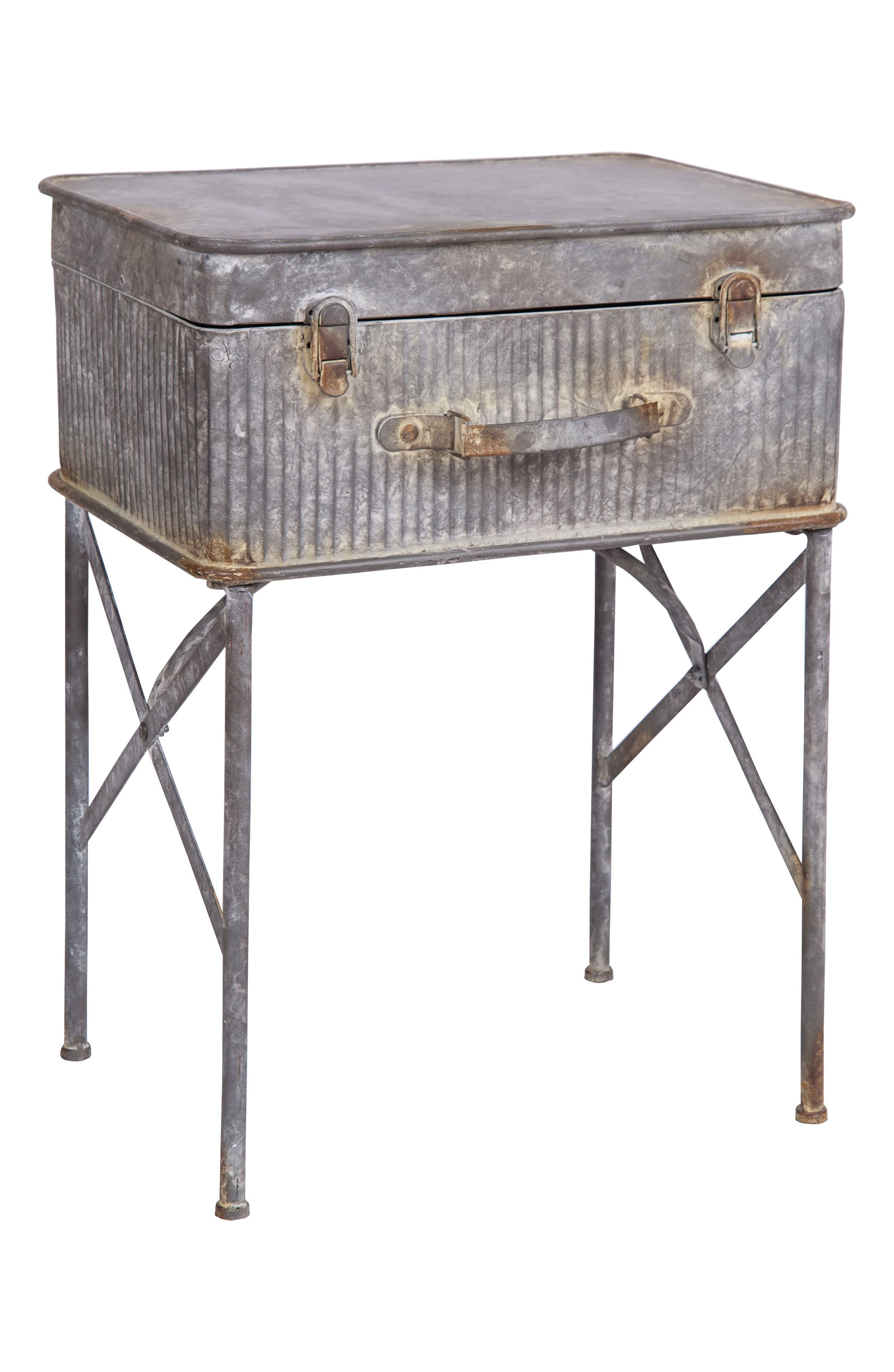Devon Suitcase Side Table,                         Main,                         color, METAL