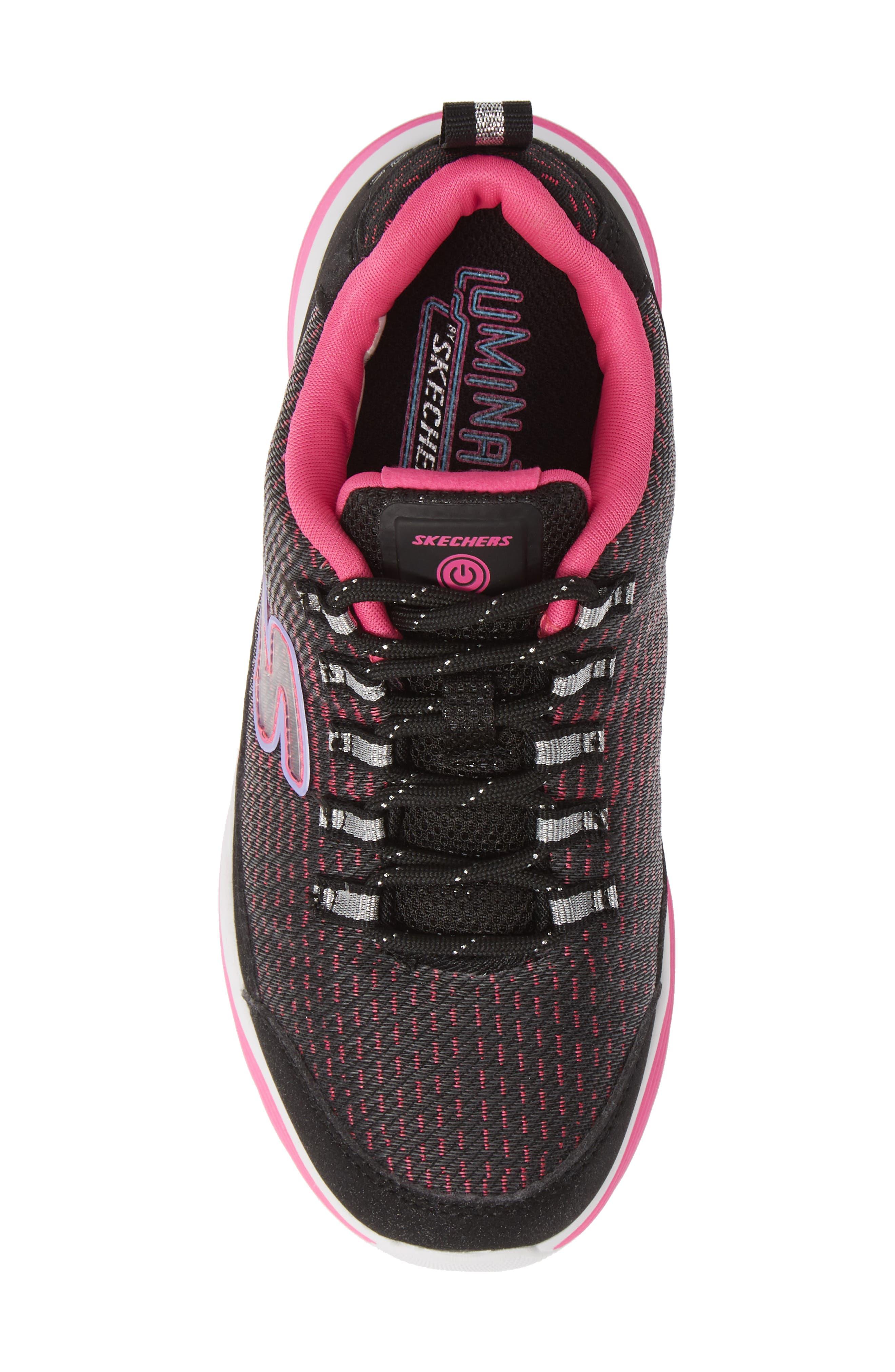 Luminator Light Up Sneaker,                             Alternate thumbnail 5, color,                             BLACK/ PINK