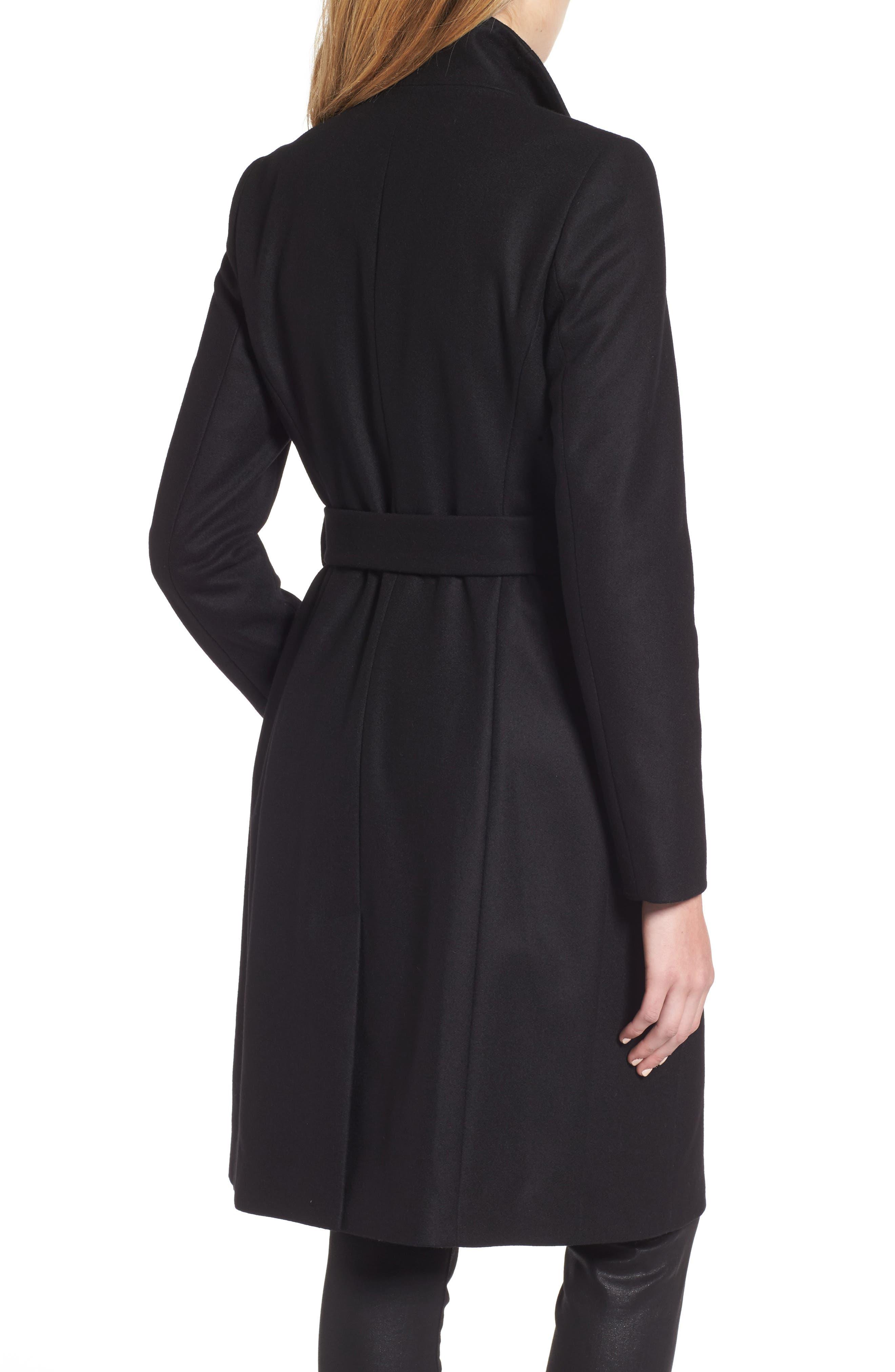 Wool Blend Long Wrap Coat,                             Alternate thumbnail 2, color,                             BLACK