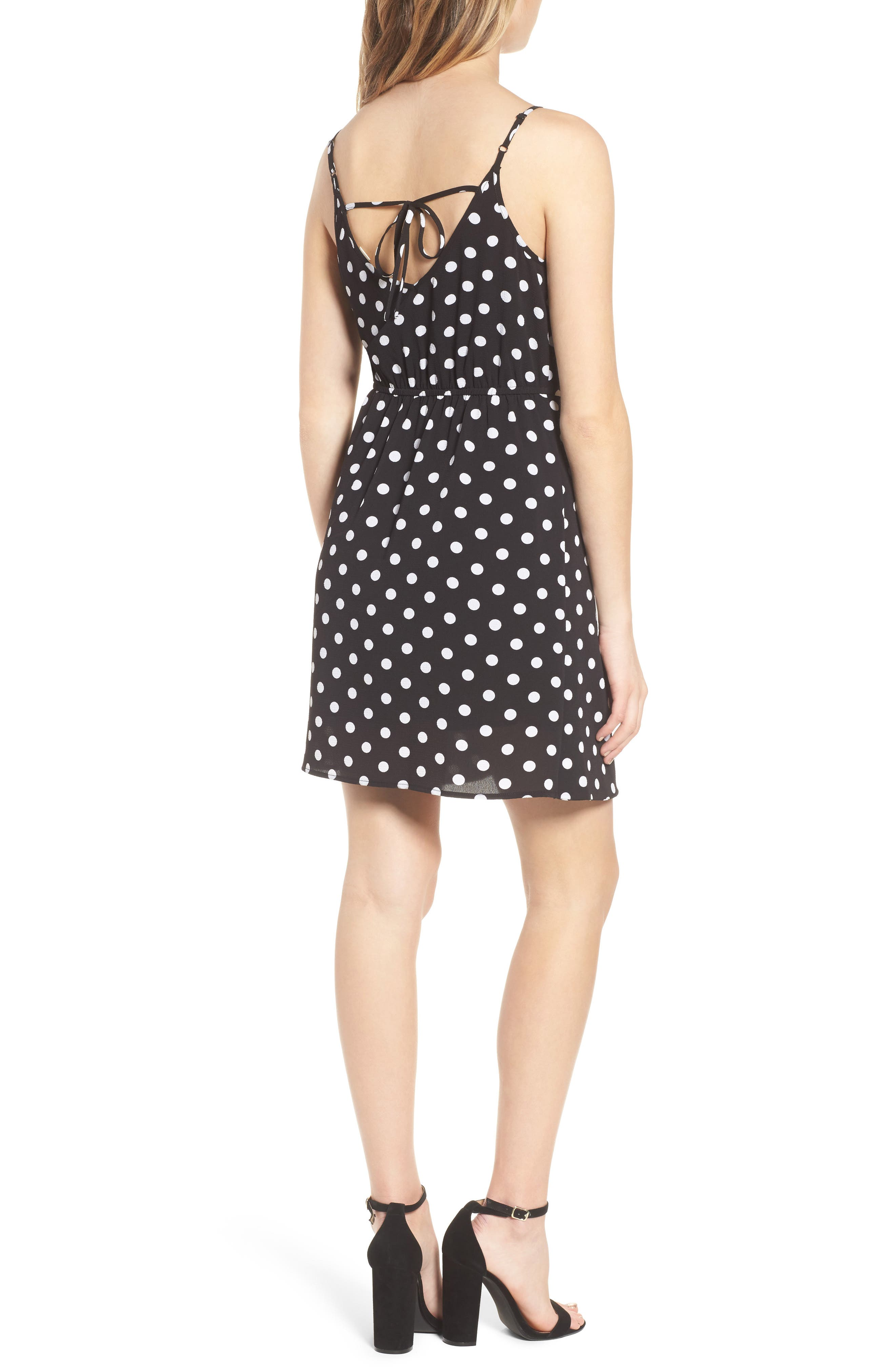 Polka Dot Faux Wrap Dress,                             Alternate thumbnail 2, color,                             001