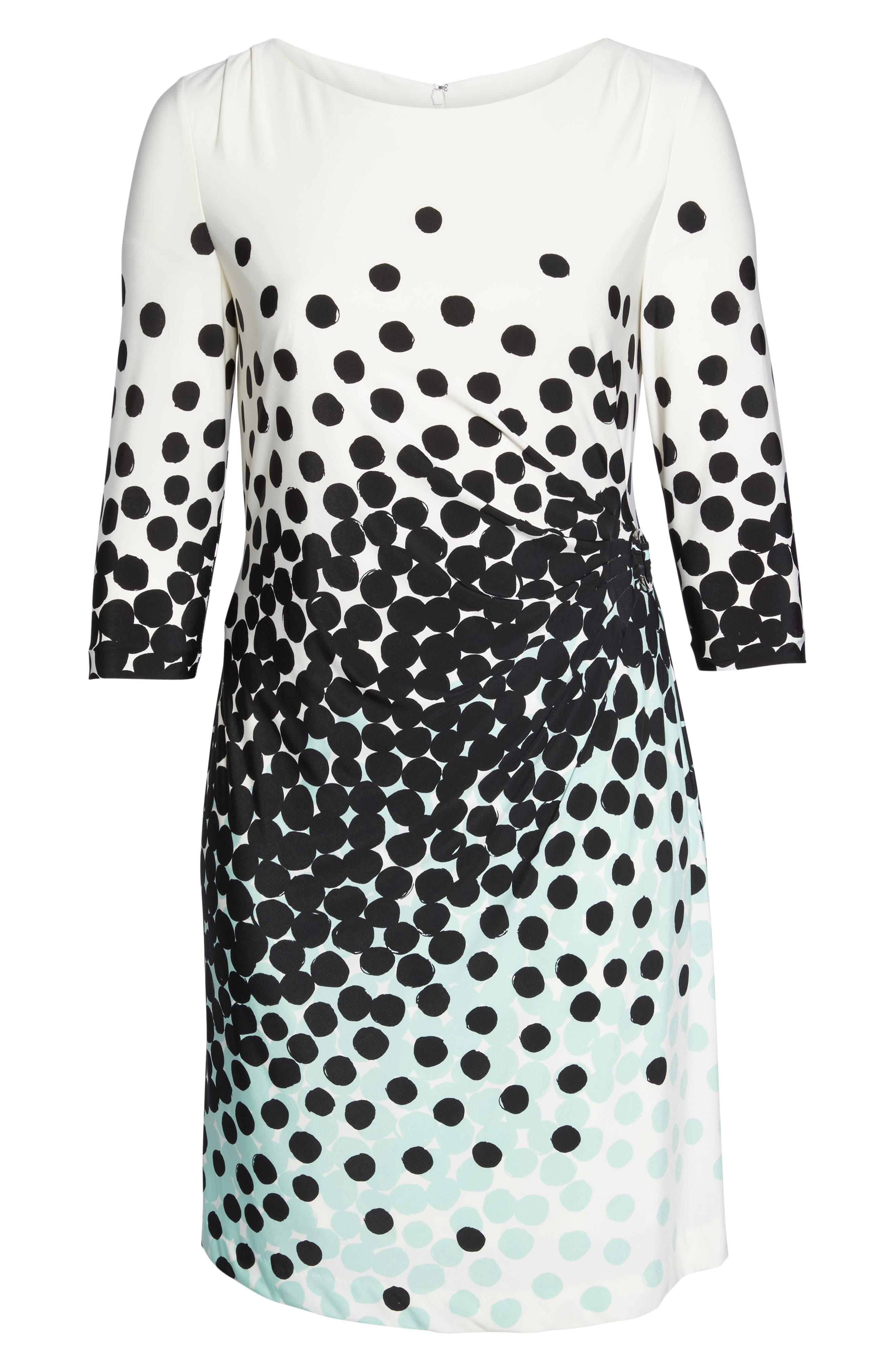 Dot Print Sheath Dress,                             Alternate thumbnail 6, color,                             001