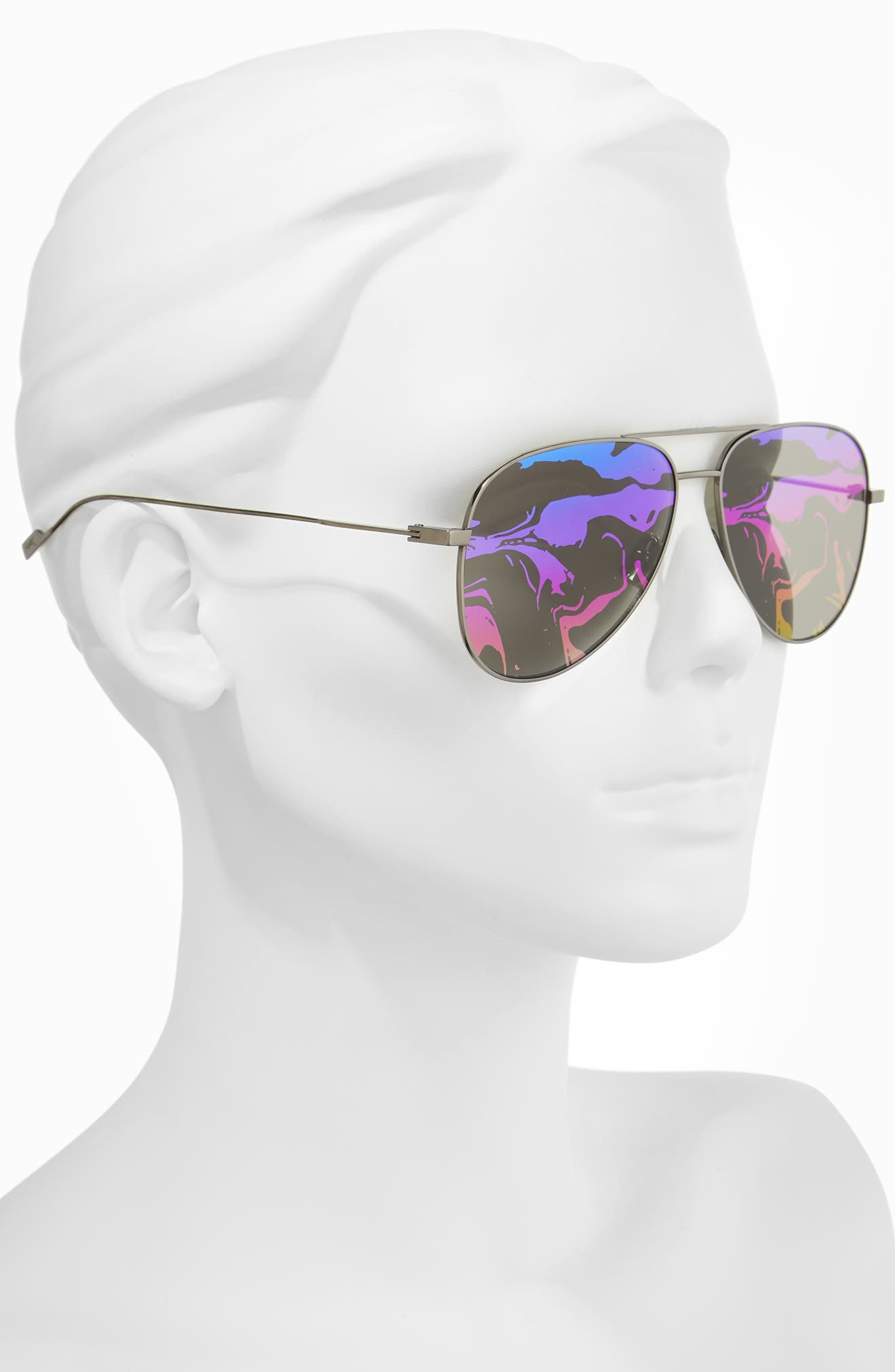 SL193 59mm Aviator Sunglasses,                             Alternate thumbnail 4, color,