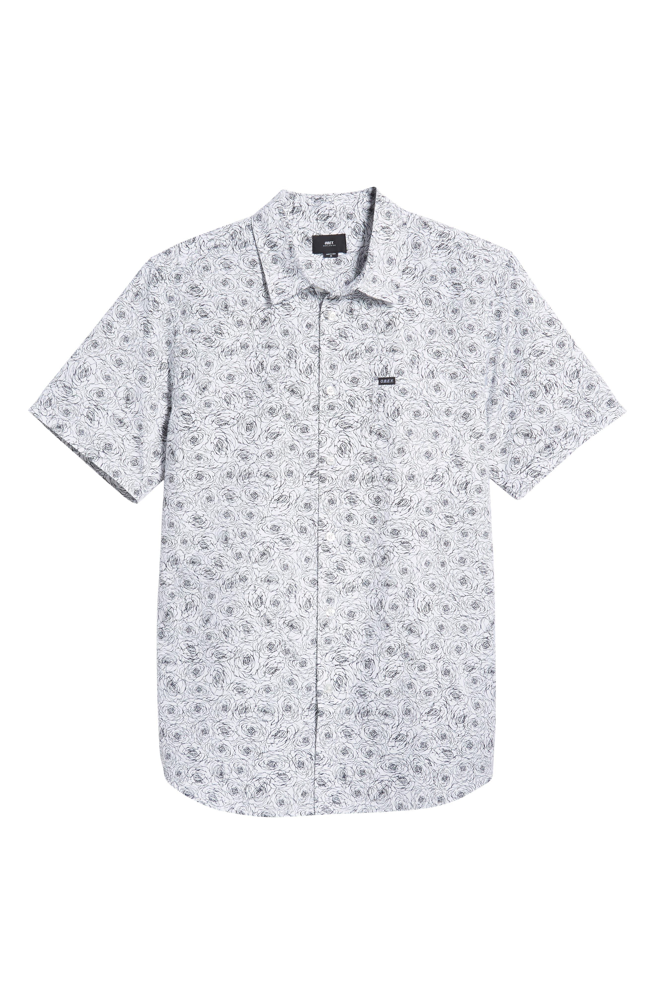 Rosie Print Woven Shirt,                             Alternate thumbnail 5, color,                             WHITE MULTI