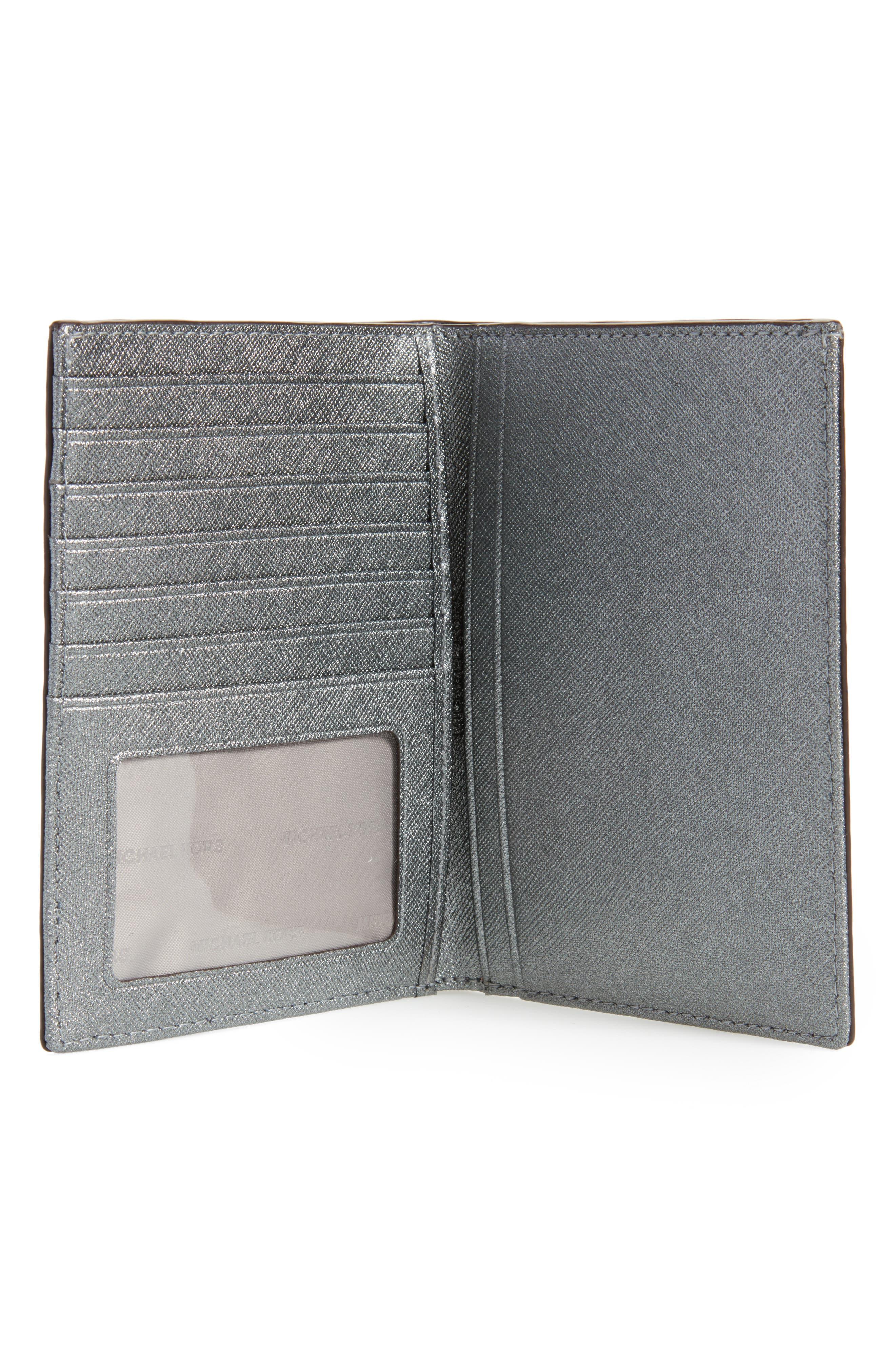 Money Pieces Leather Passport Wallet,                             Alternate thumbnail 3, color,