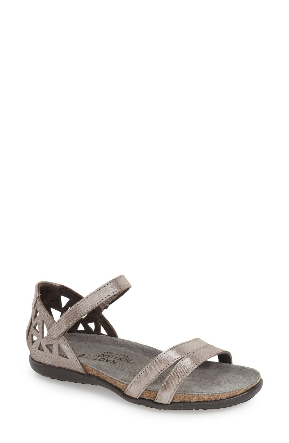'Bonnie' Sandal,                         Main,                         color, SILVER THREADS LEATHER