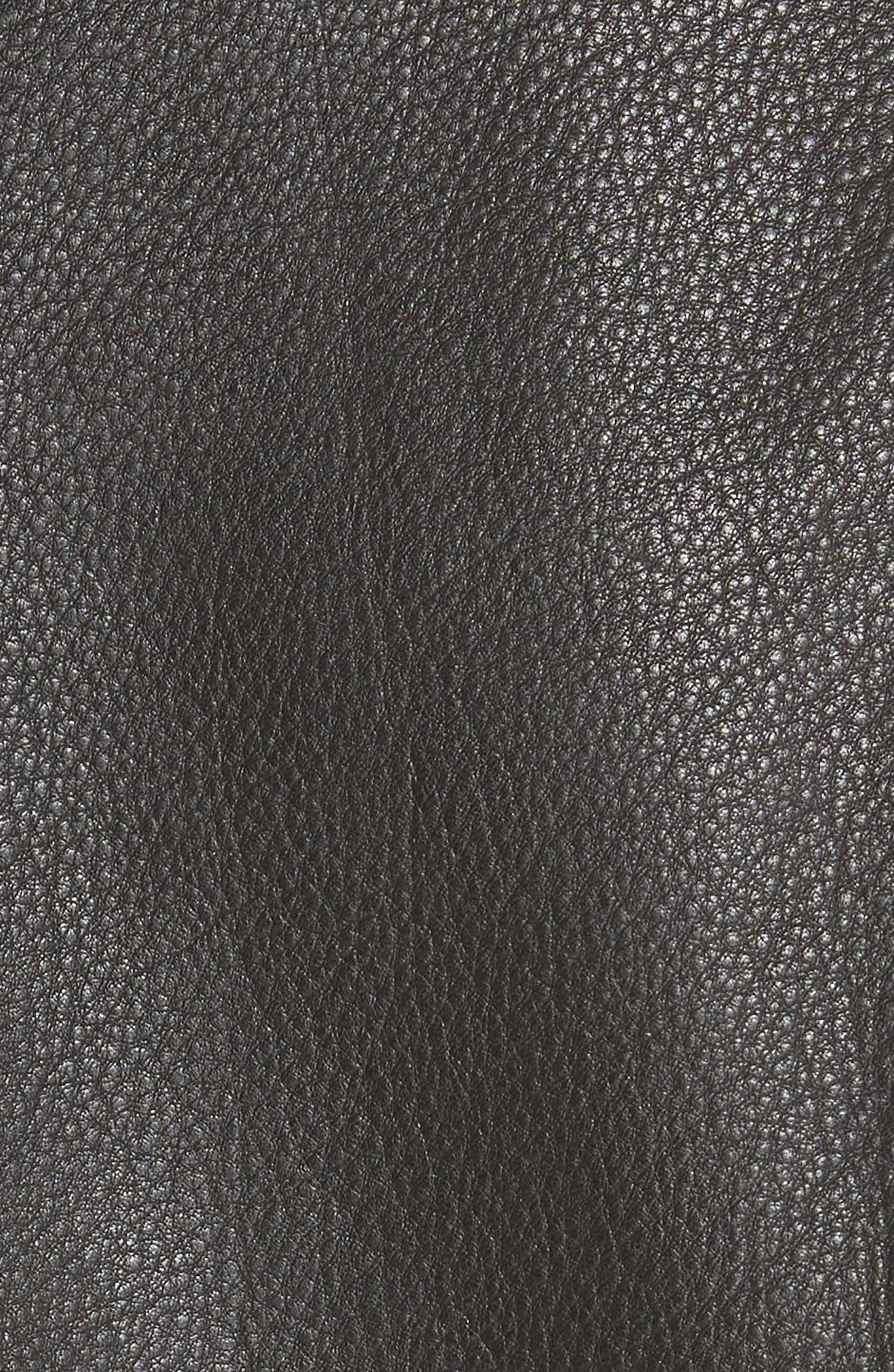 GANNI,                             Angela Leather Jacket,                             Alternate thumbnail 6, color,                             099