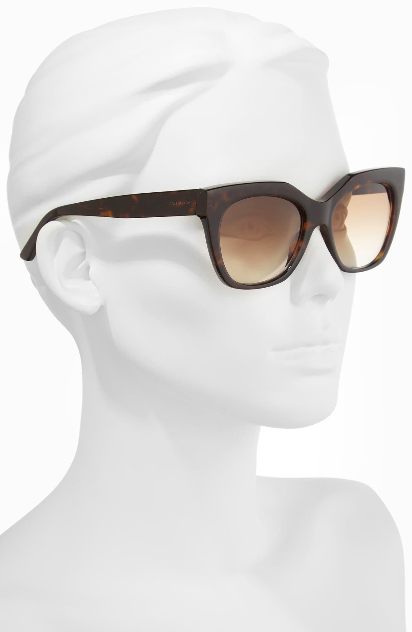 54mm Cat Eye Sunglasses,                             Alternate thumbnail 2, color,                             DARK HAVANA/ GRADIENT BROWN