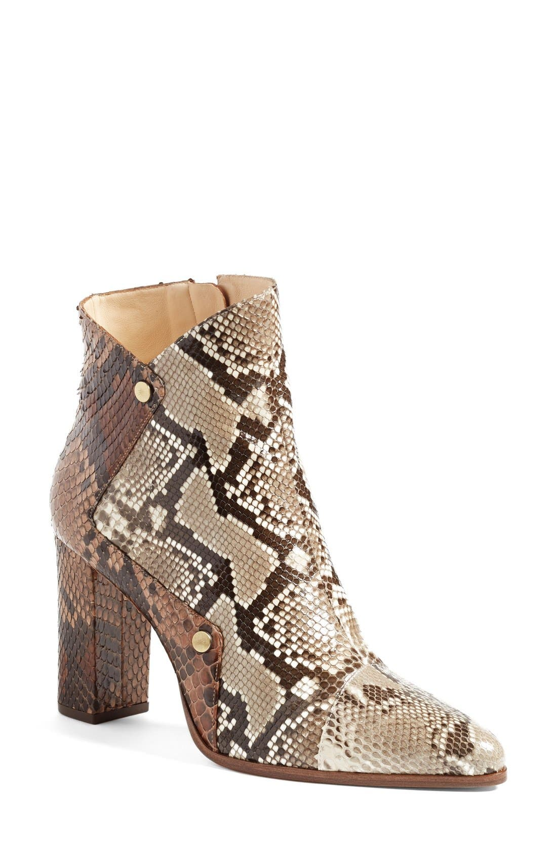 'Kendal' Genuine Python Skin Pointy Toe Bootie,                             Main thumbnail 1, color,                             250