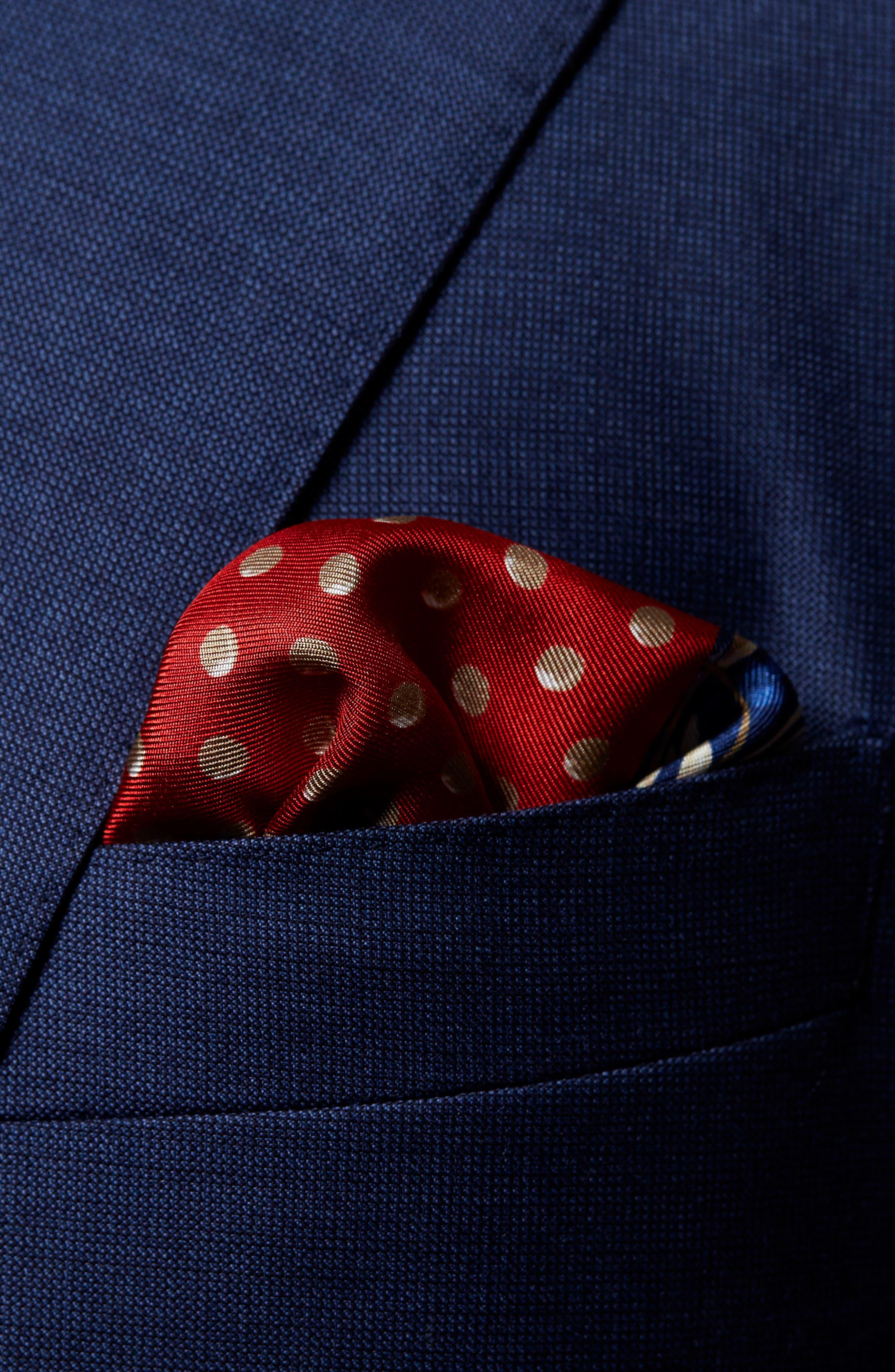 Dot Silk Pocket Square,                             Alternate thumbnail 2, color,                             RED