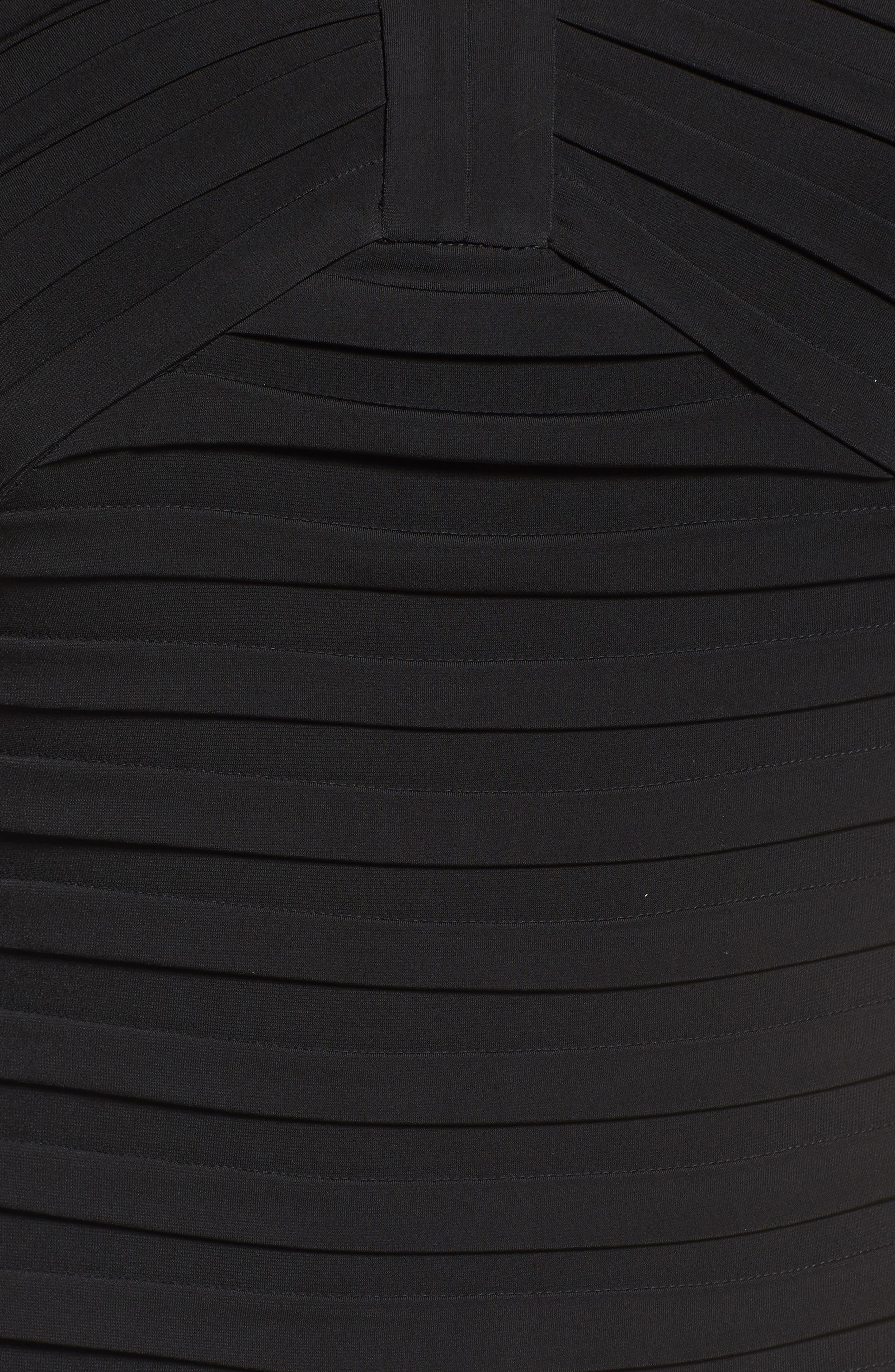 Shutter Pleat Jersey Skeath Dress,                             Alternate thumbnail 6, color,                             BLACK
