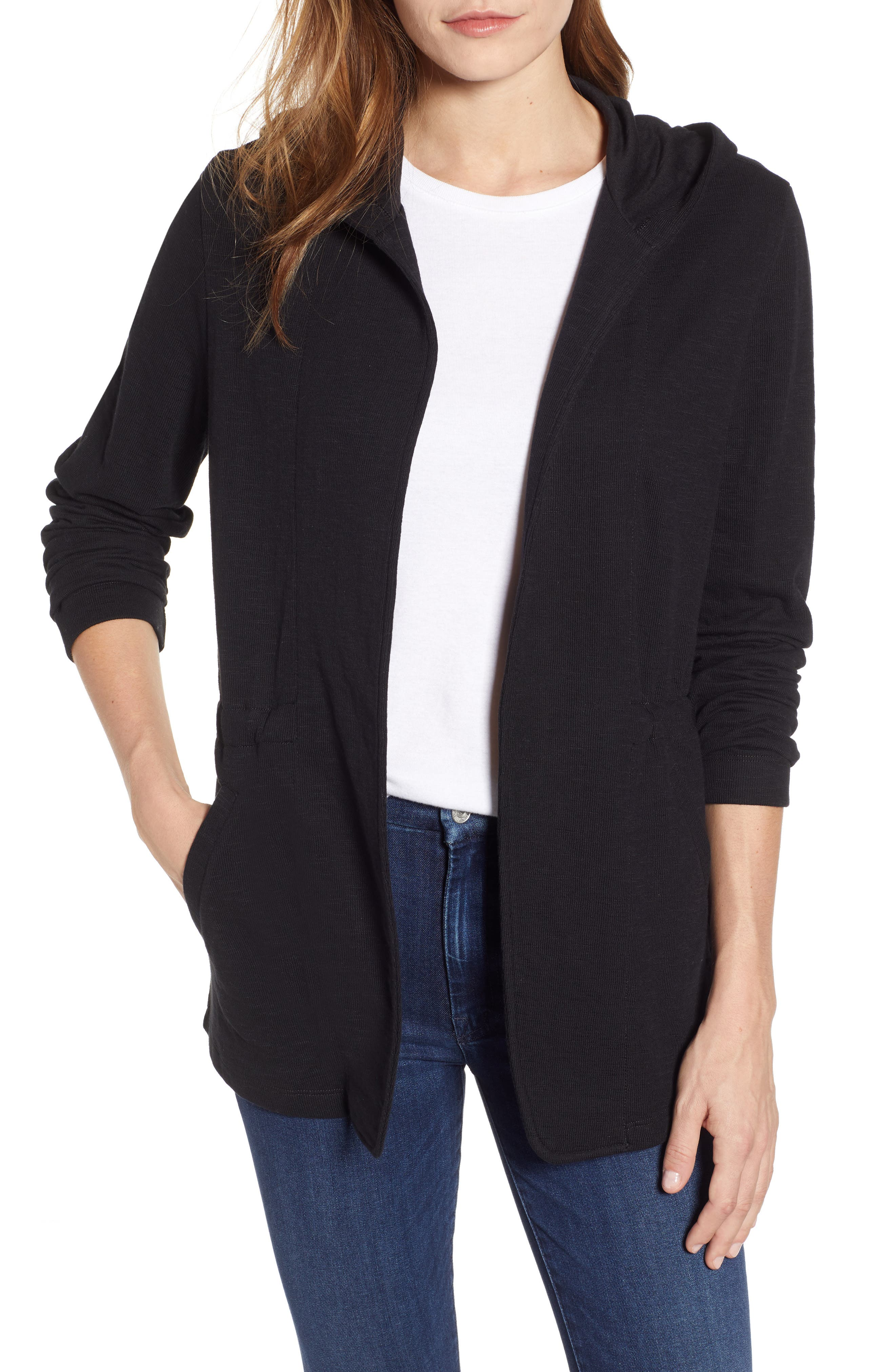 CASLON<SUP>®</SUP> Open Front Hooded Cardigan, Main, color, BLACK