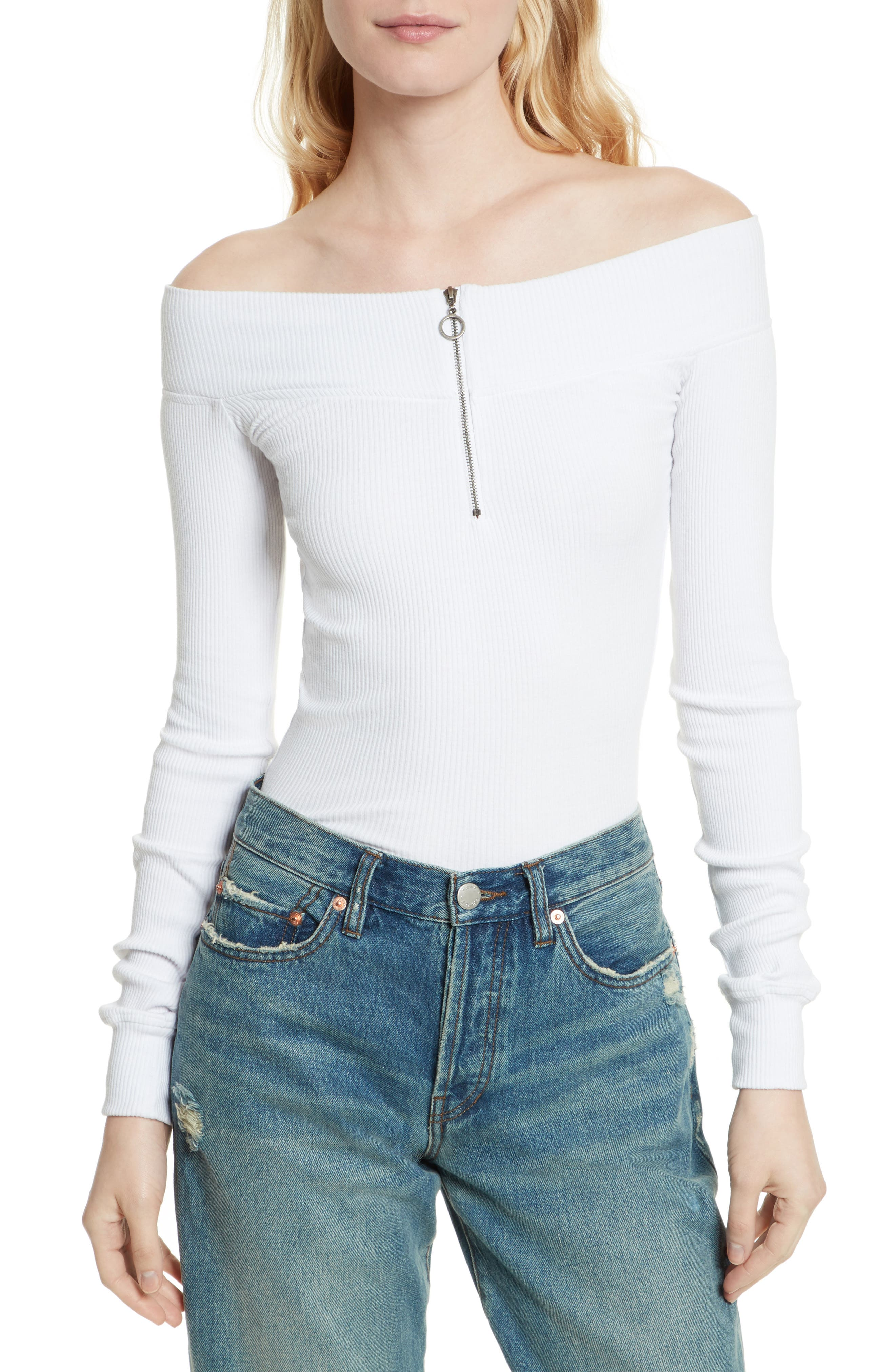 Zip to It Off the Shoulder Top,                             Main thumbnail 2, color,