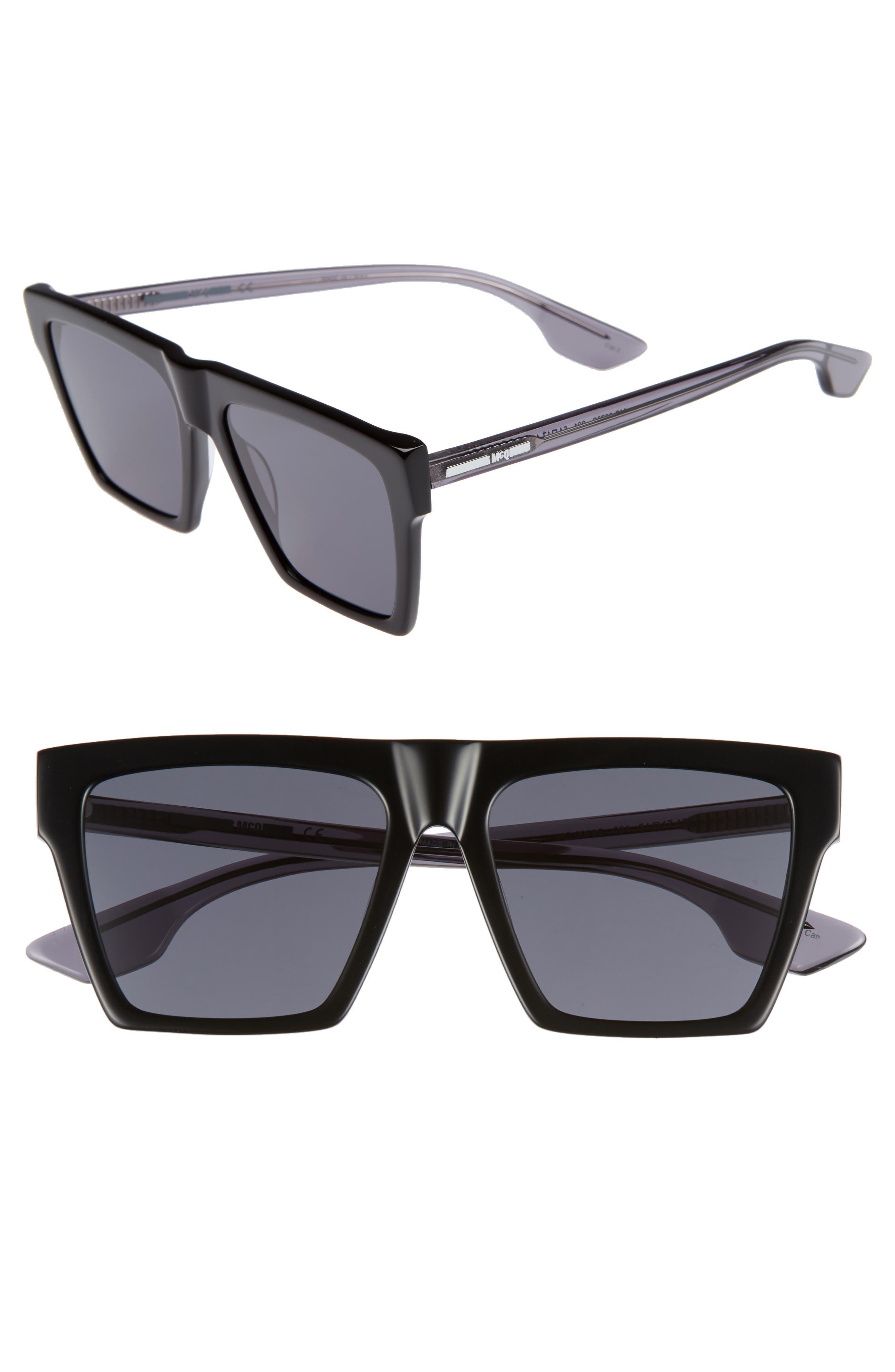 Alexander McQueen 54mm Flat Top Sunglasses,                             Main thumbnail 1, color,                             BLACK