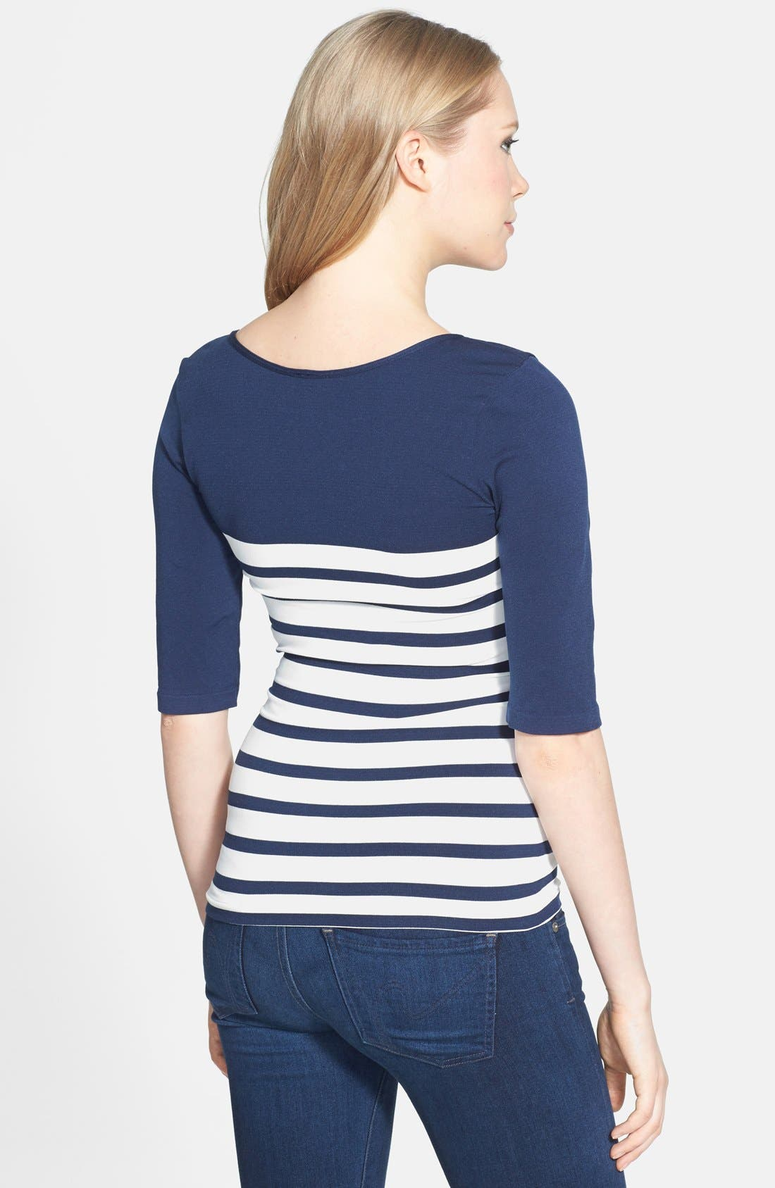 'St. Barts' Ballet Sleeve Maternity Top,                             Alternate thumbnail 7, color,                             NAVY/ WHITE