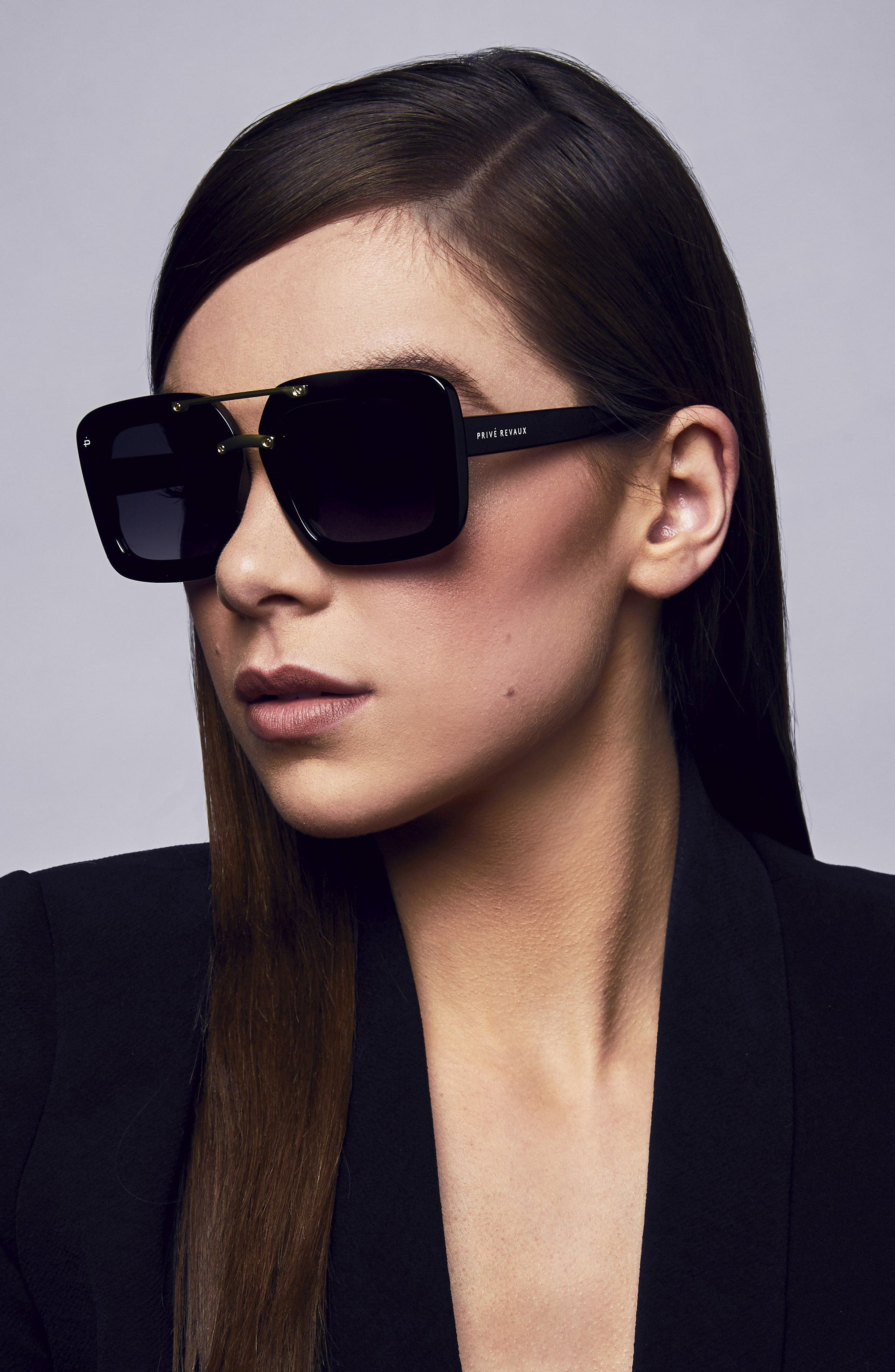 The Karl 50mm Square Aviator Sunglasses,                             Alternate thumbnail 5, color,                             001