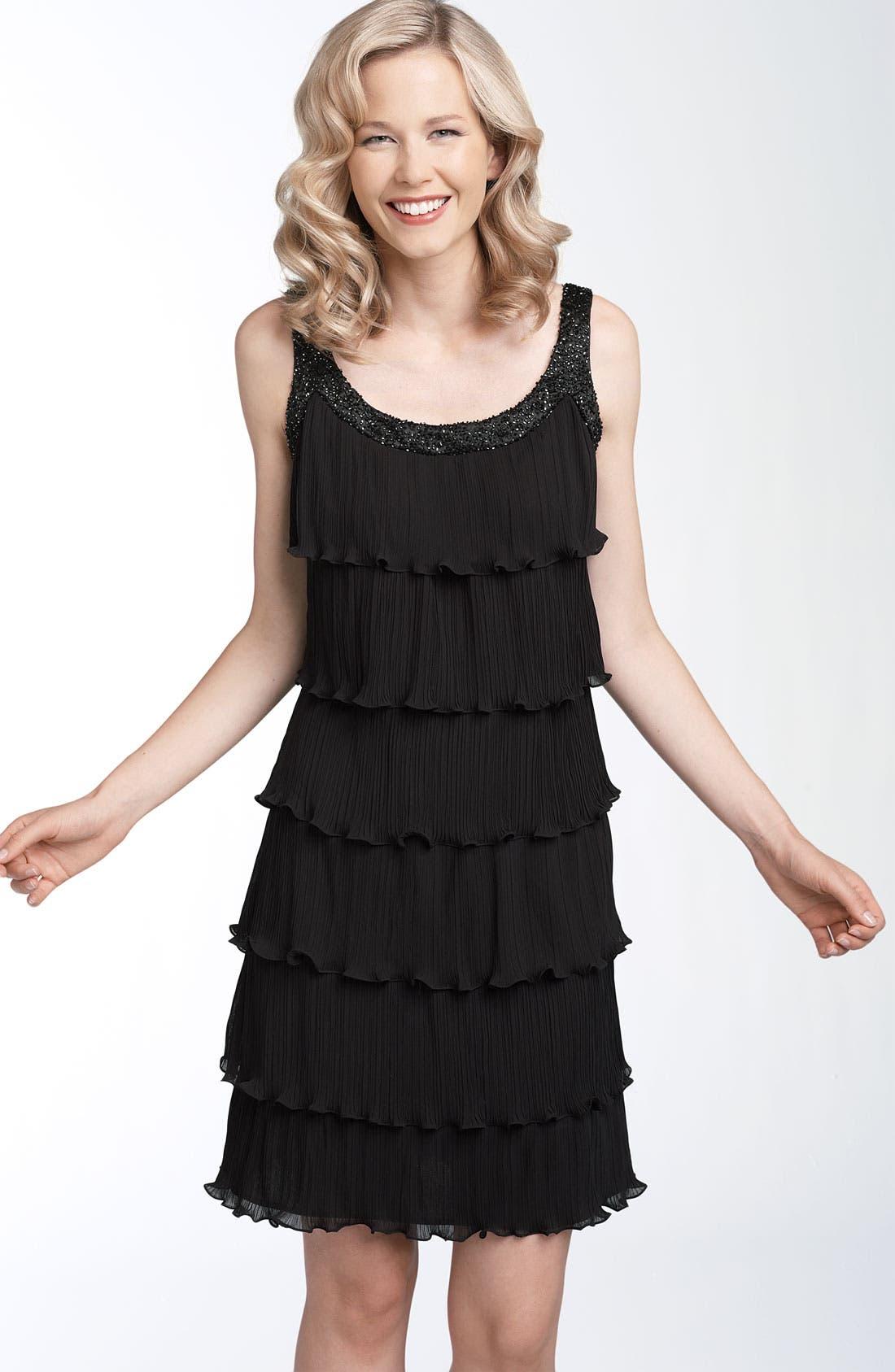 Tiered Chiffon Dress,                             Main thumbnail 1, color,                             001