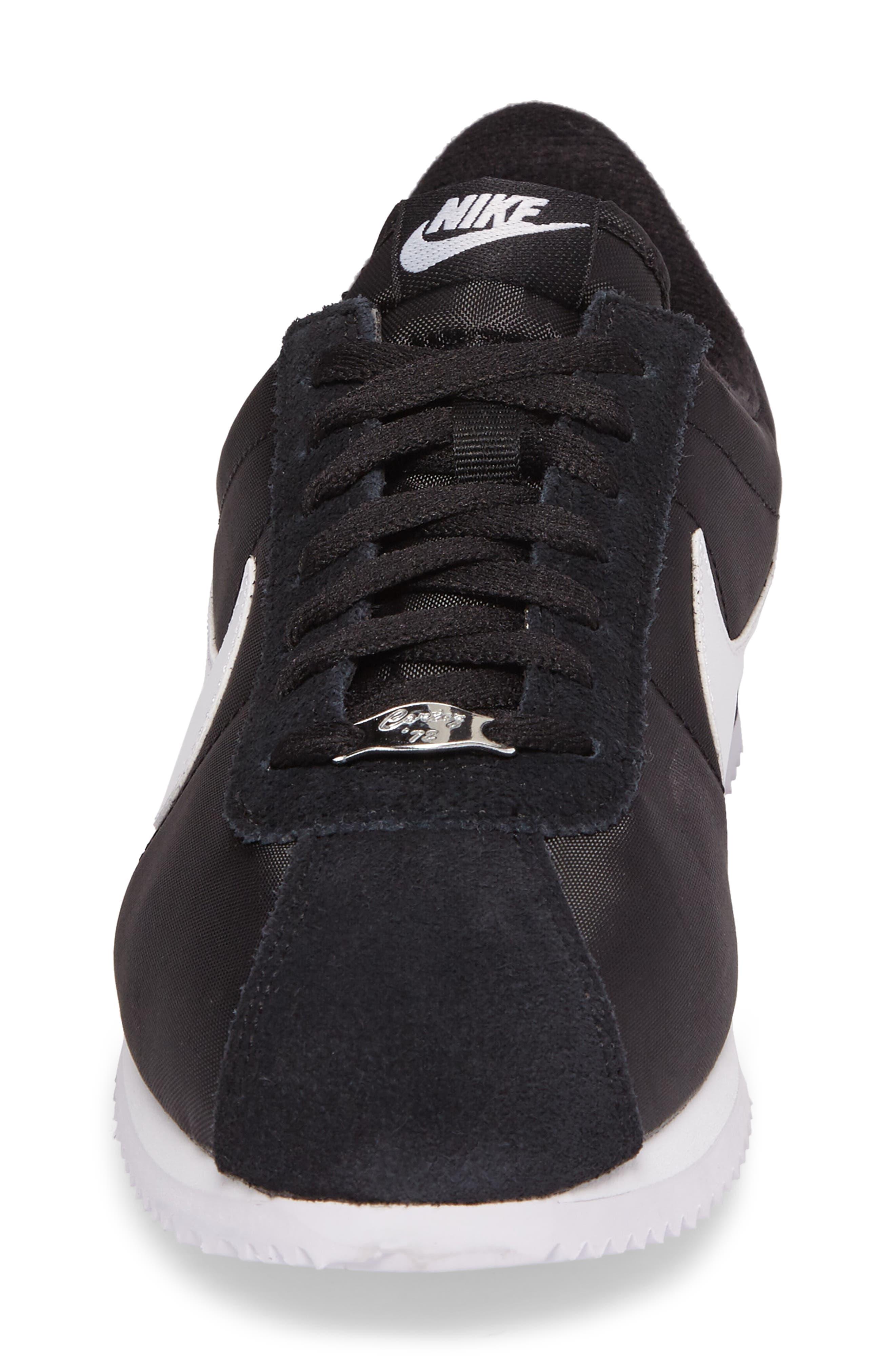 Cortez Basic Nylon Sneaker,                             Alternate thumbnail 4, color,                             BLACK/WHITE/METALLIC SILVER