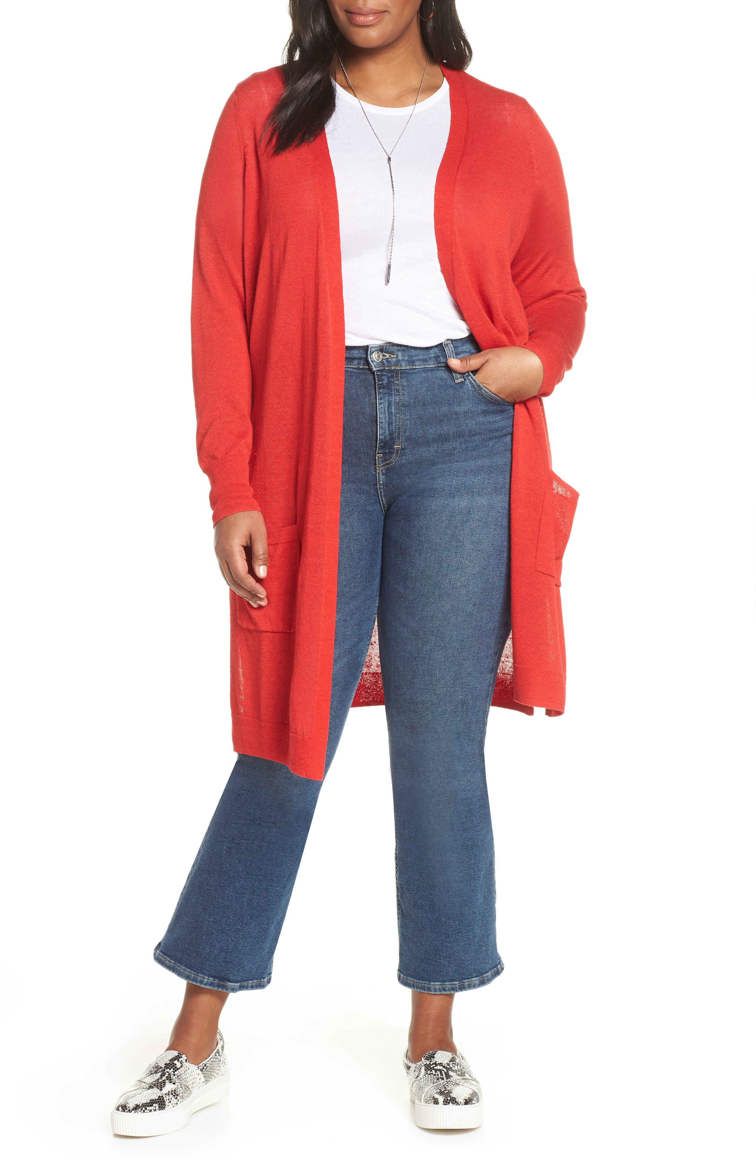 Plus Size Halogen Long Cardigan, Red