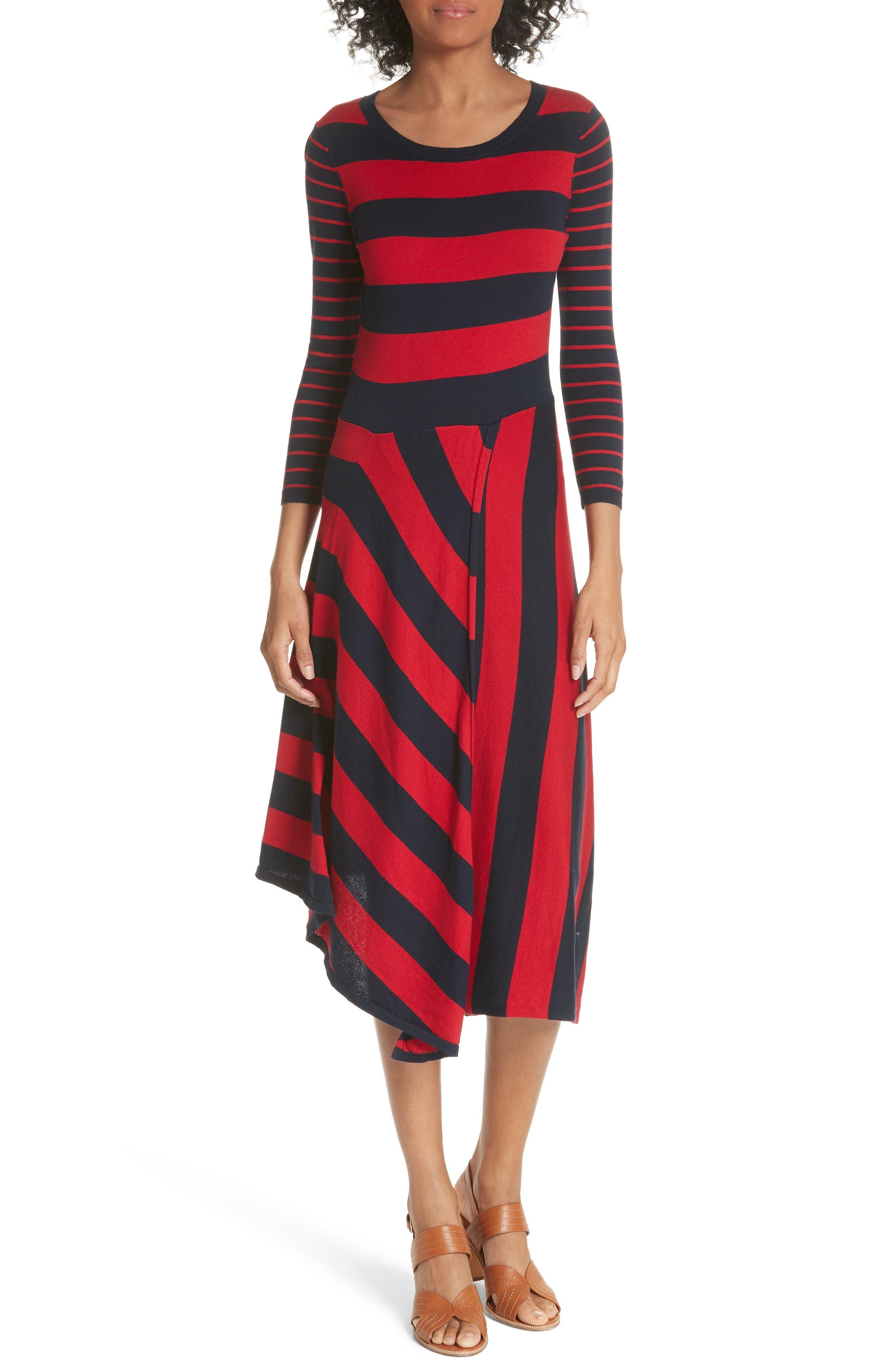 Ecedra Asymmetrical Stripe Faux Wrap Dress,                             Main thumbnail 1, color,                             MIDNIGHT CHERRY