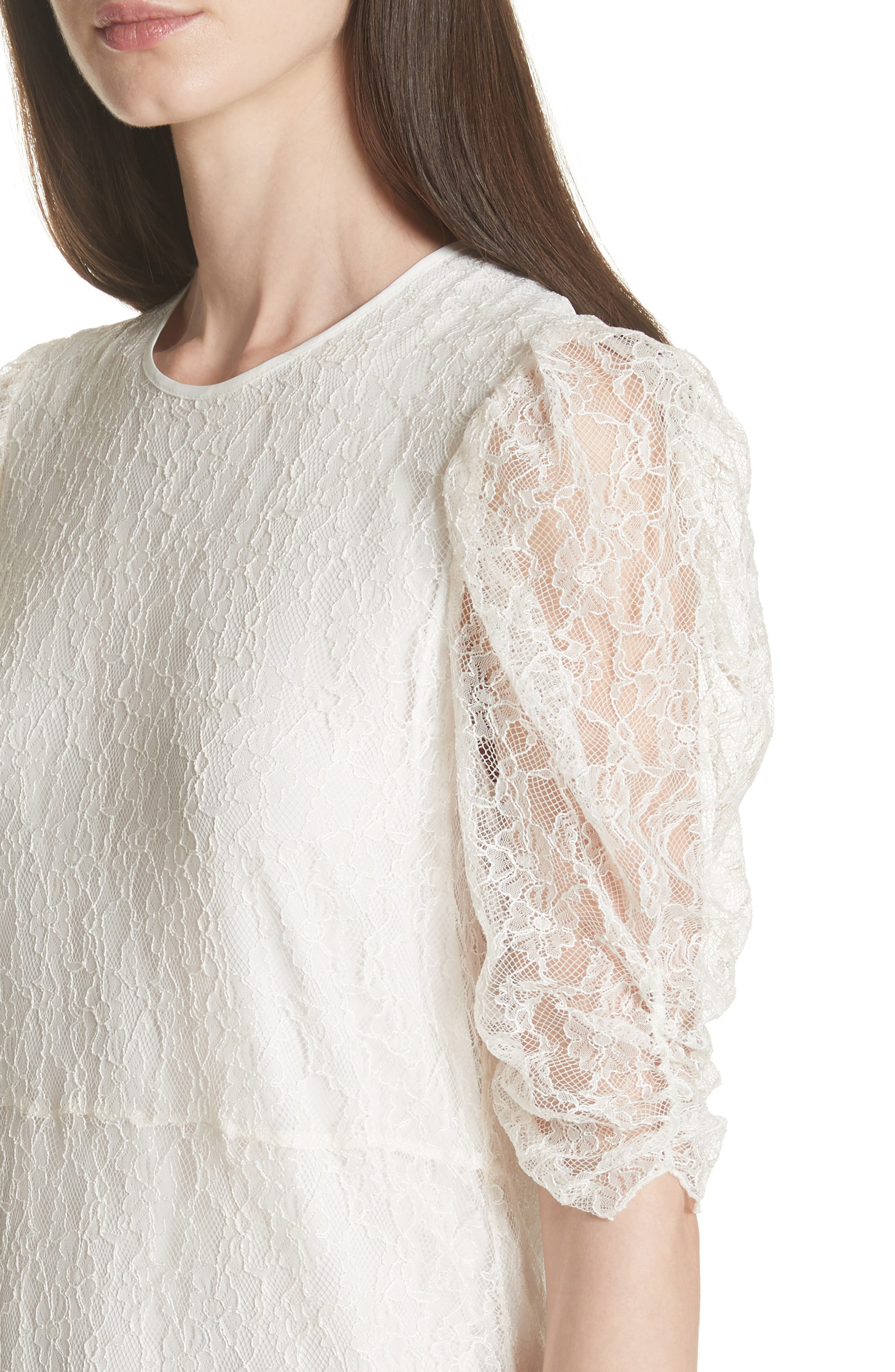 Lace Dress,                             Alternate thumbnail 4, color,                             WHITE