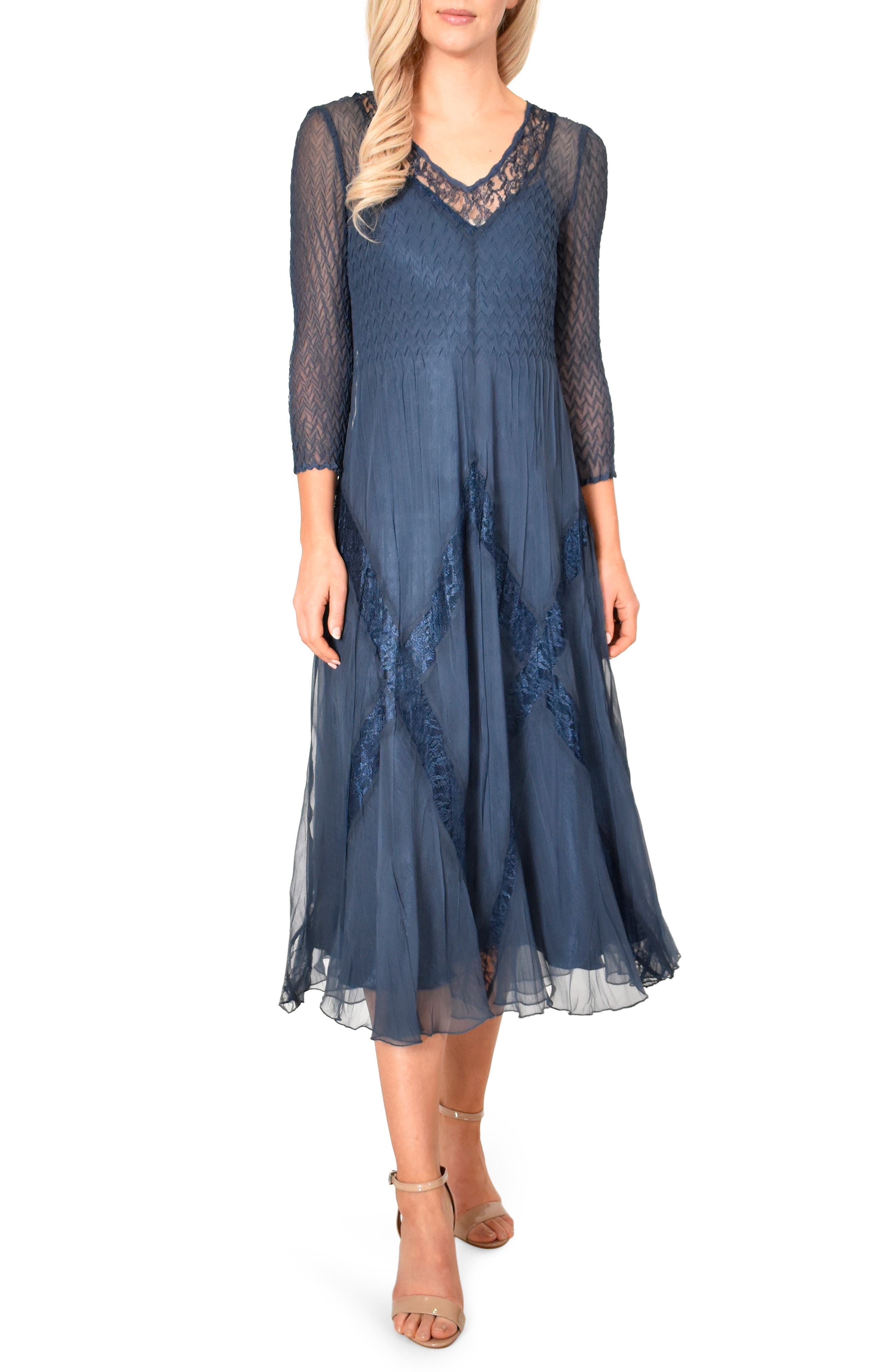 Komarov Beaded Chiffon A-Line Dress, Blue