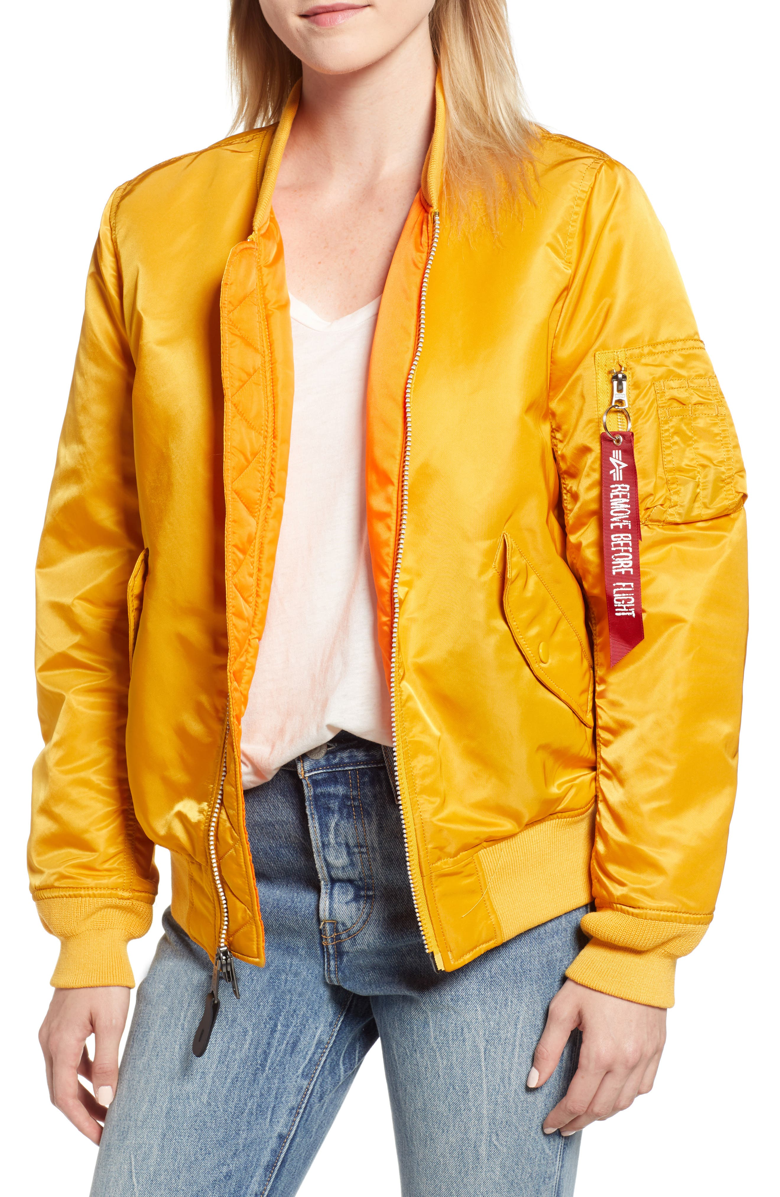 MA-1 W Bomber Jacket,                         Main,                         color, GOLDEN YELLOW