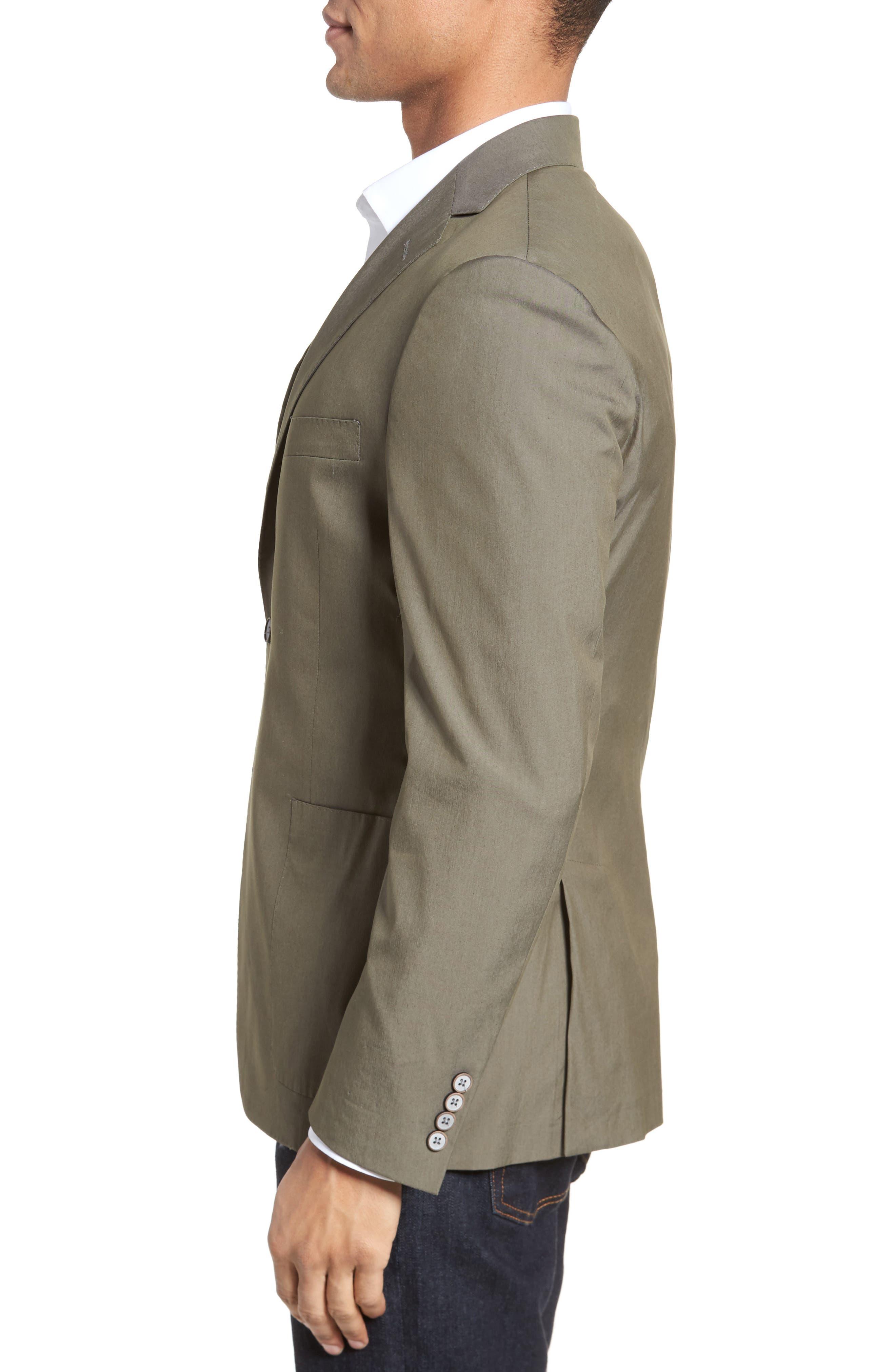 H,                             Modern Fit Stretch Cotton Blend Blazer,                             Alternate thumbnail 3, color,                             300