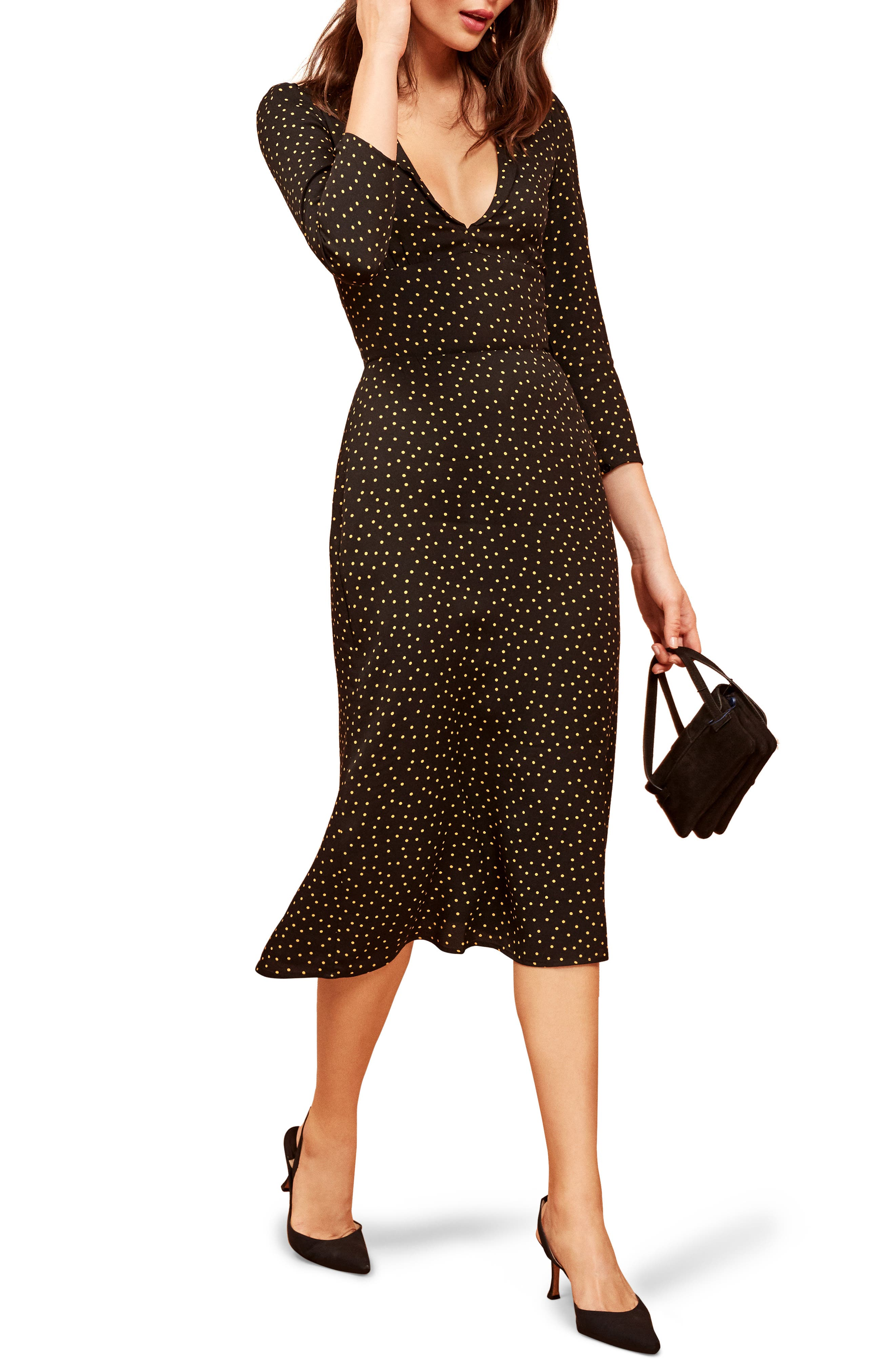 REFORMATION Mabel Plunge Midi Dress, Main, color, 002