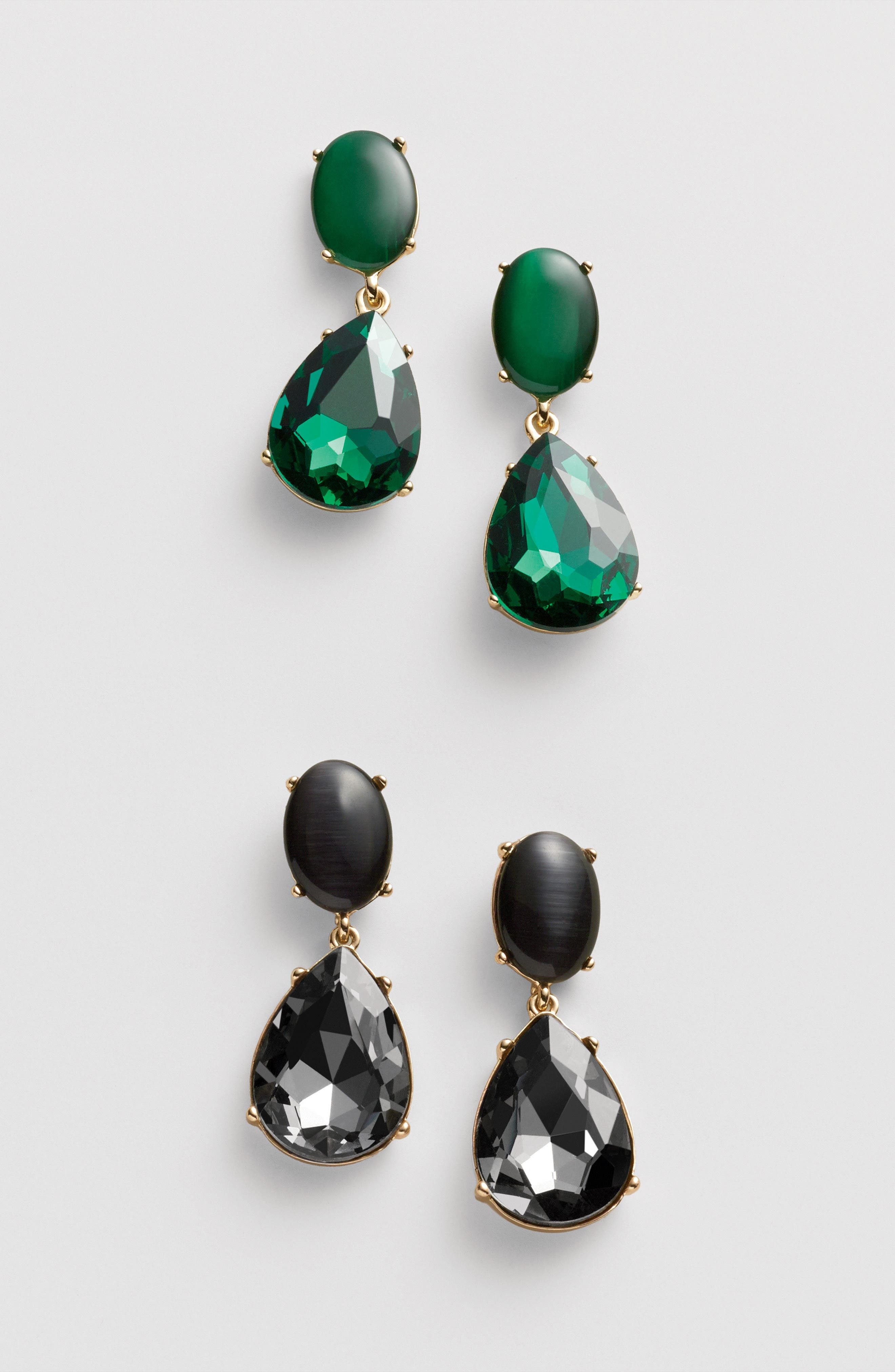 Gemstone Statement Double Drop Earrings,                             Alternate thumbnail 3, color,                             BLACK- GOLD